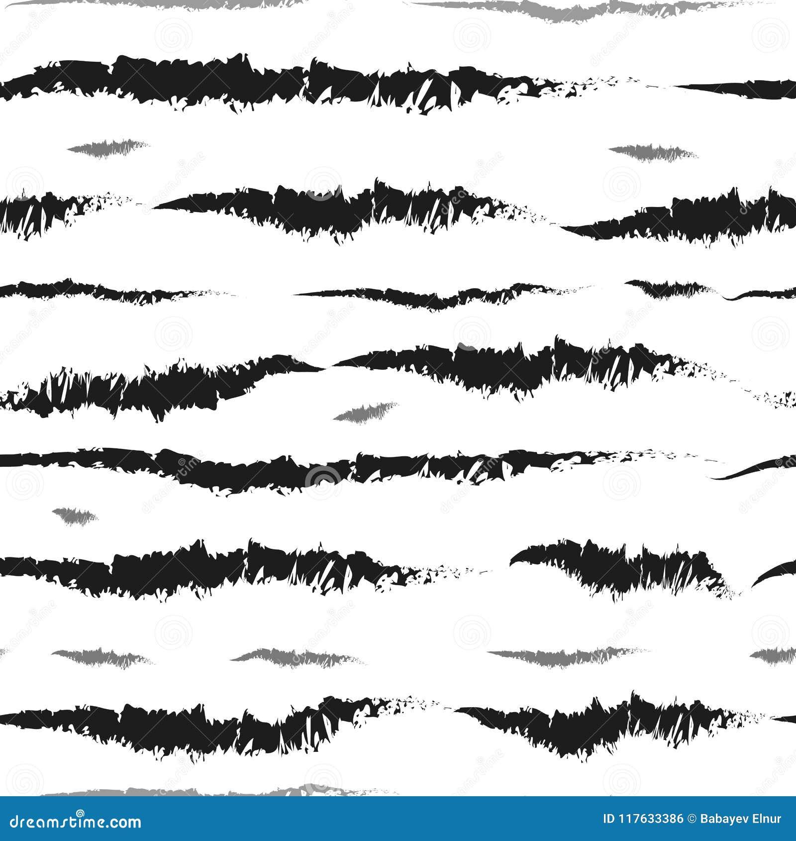 Красивая безшовная картина с черно-белыми нашивками акварели покрашенные рукой ходы щетки, striped предпосылка Illustr вектора