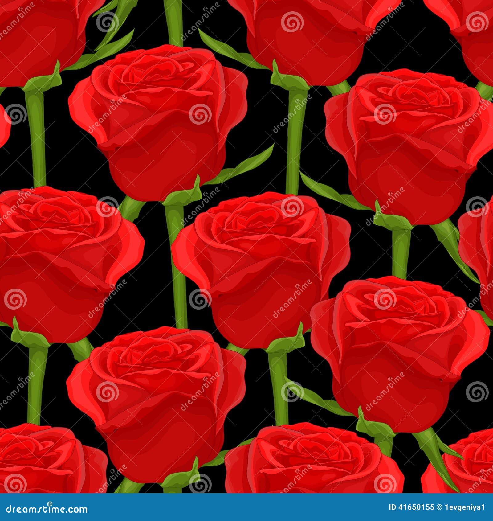 Красивая безшовная предпосылка с красными розами на черноте