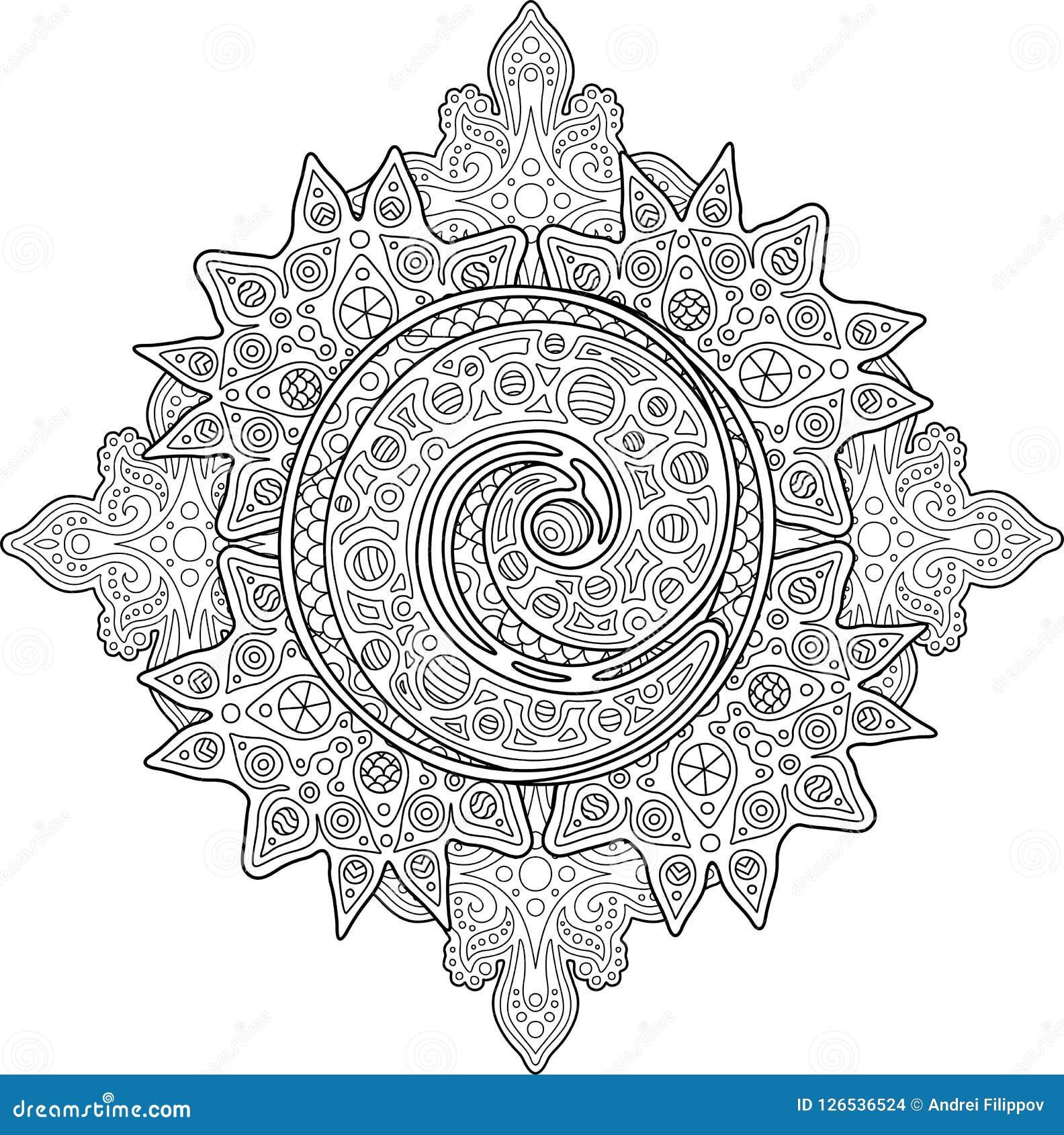 красивая взрослая страница книжка раскраски с спиралью