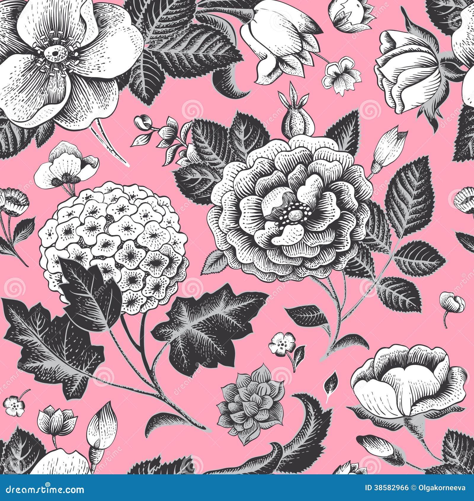 Красивая винтажная флористическая безшовная картина.