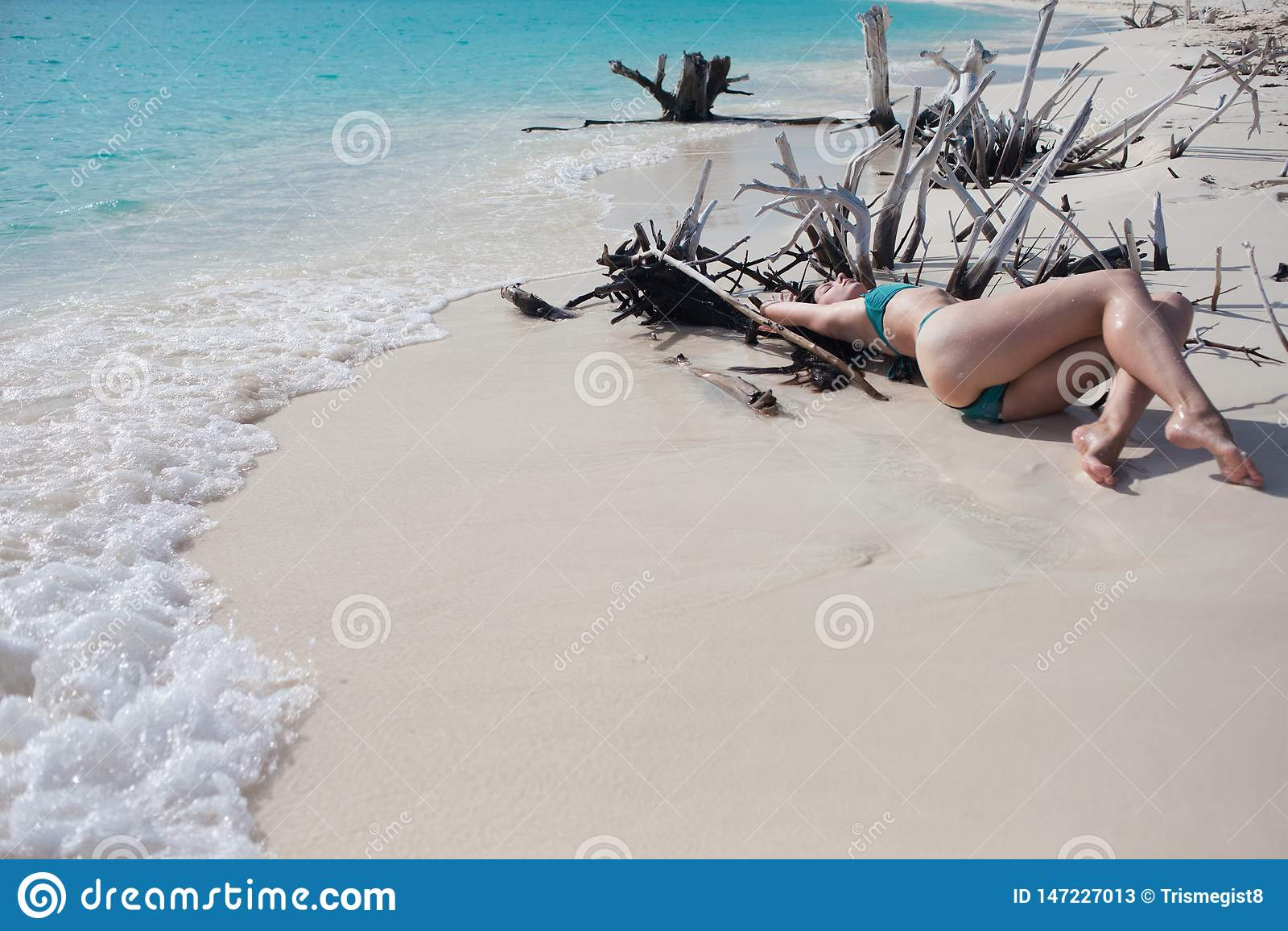 Красивая девушка в бикини лежа среди деревянных терниев на пляже