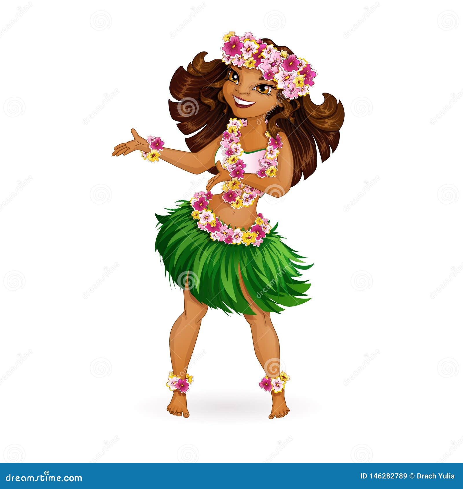 Красивая девушка в гавайских одеждах танцует Hula Венок и гирлянда цветков, юбка травы