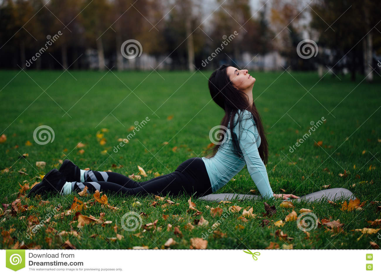 Красивая девушка протягивая на траве Sporty молодая спортсменка брюнет на циновке йоги - верхней собаке облицовки