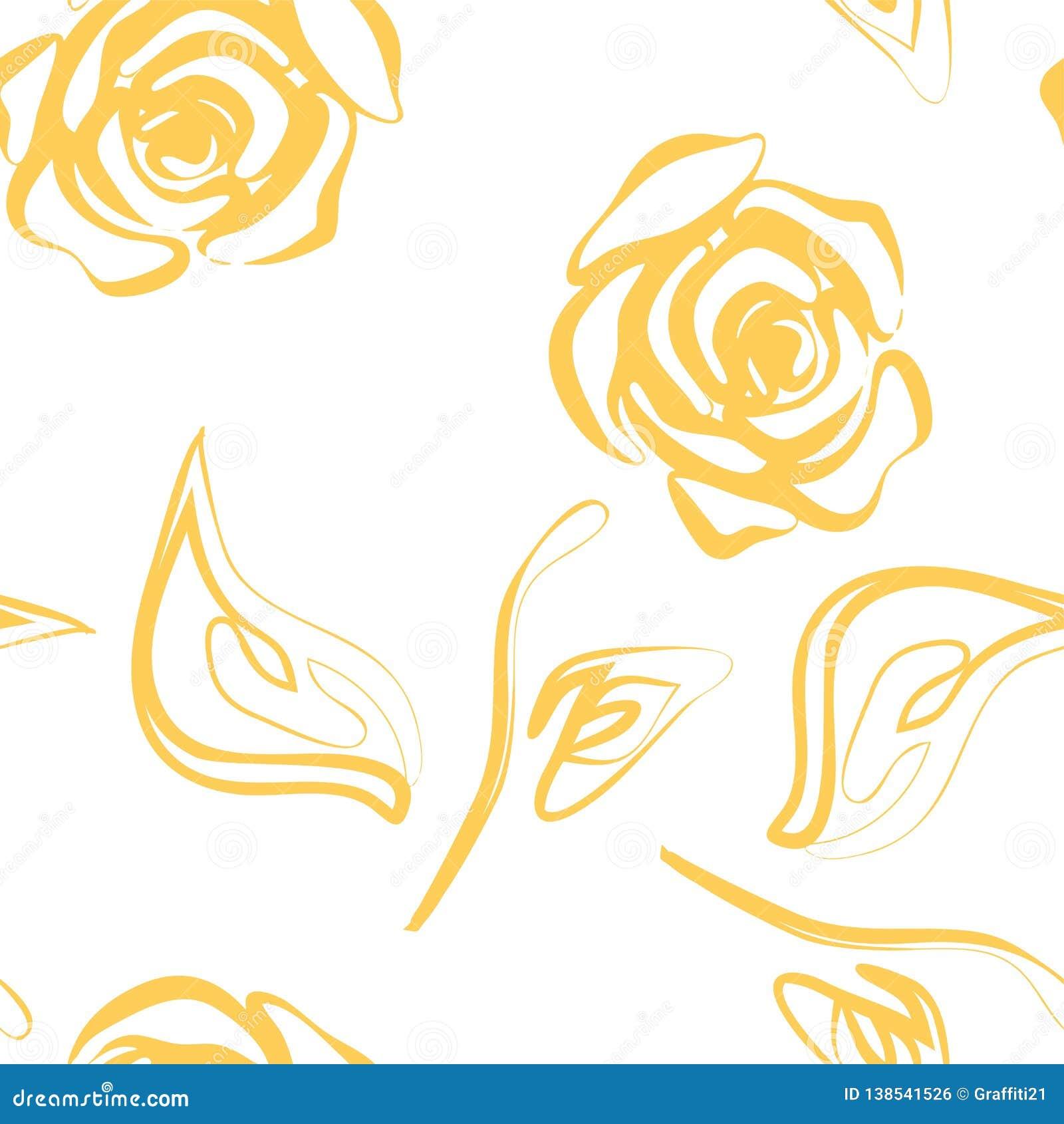 Красивая желтая и белая безшовная картина в розах с контурами Нарисованные вручную линии контура и ходы Улучшите для предпосылки