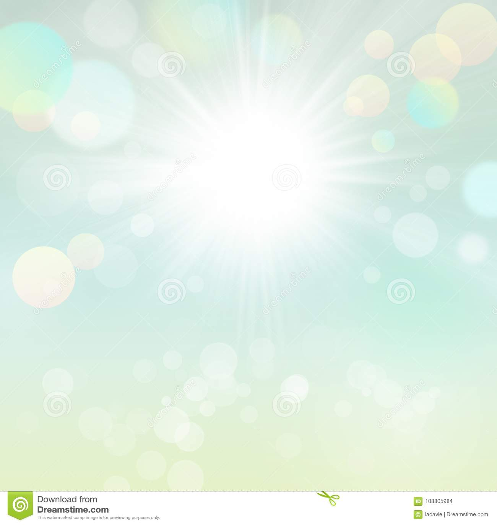 Красивая запачканная предпосылка Bokeh зеленого цвета природы Солнця лета весны с Солнцем