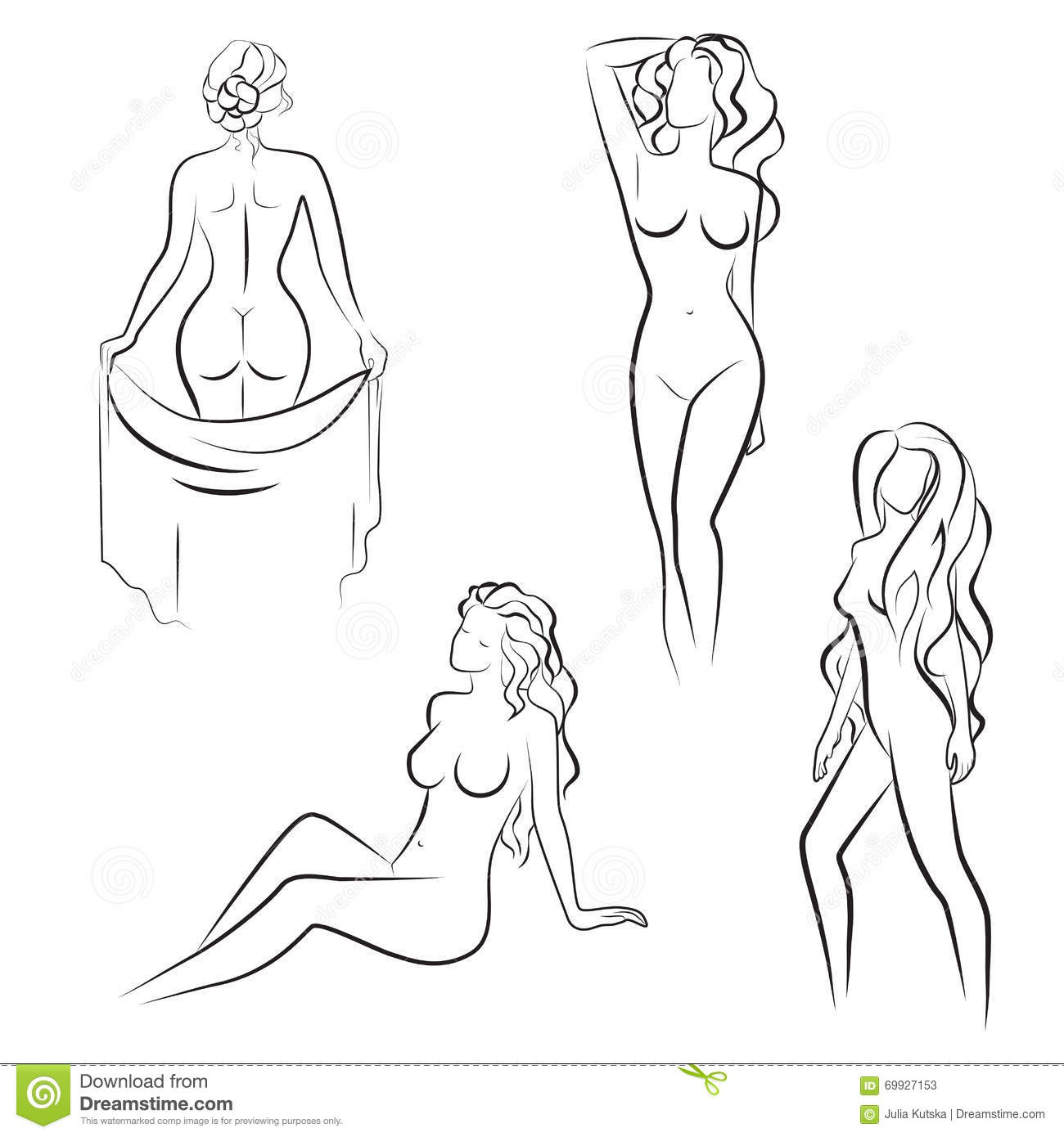 Continuous line drawing naked young girl vector image