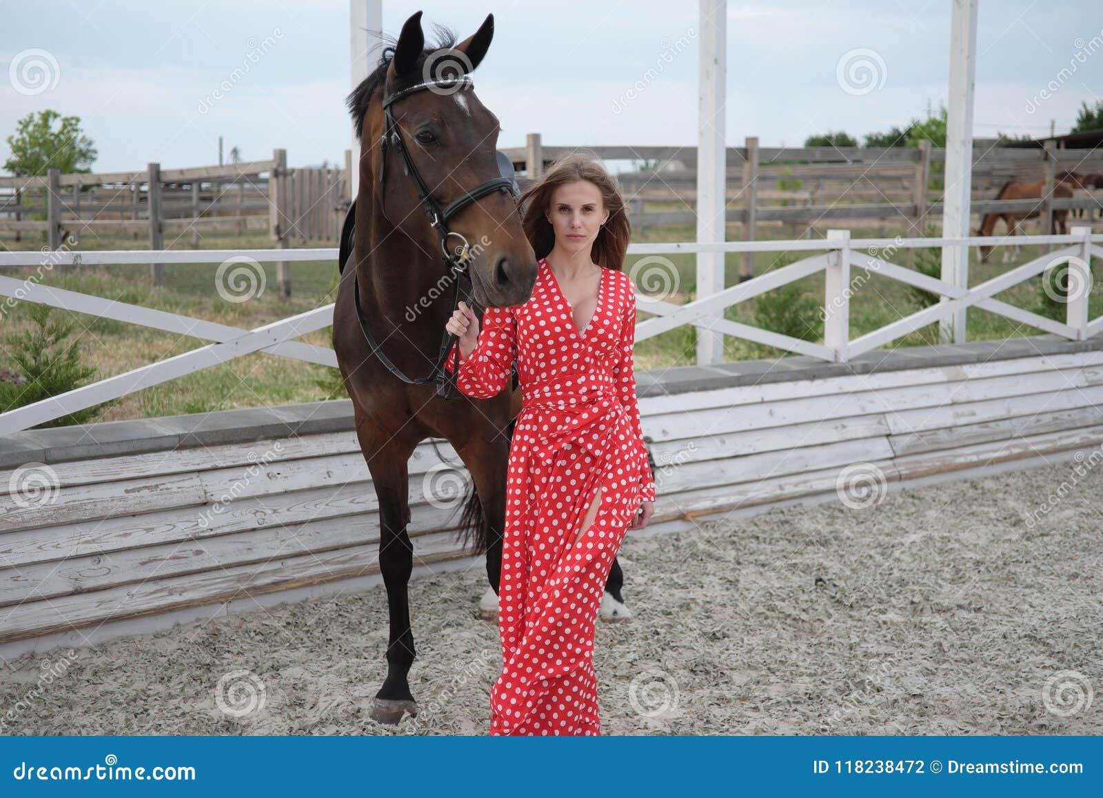 Красивая и сексуальная блондинка с большими грудями в красном платье и лошади коричневых костюмов