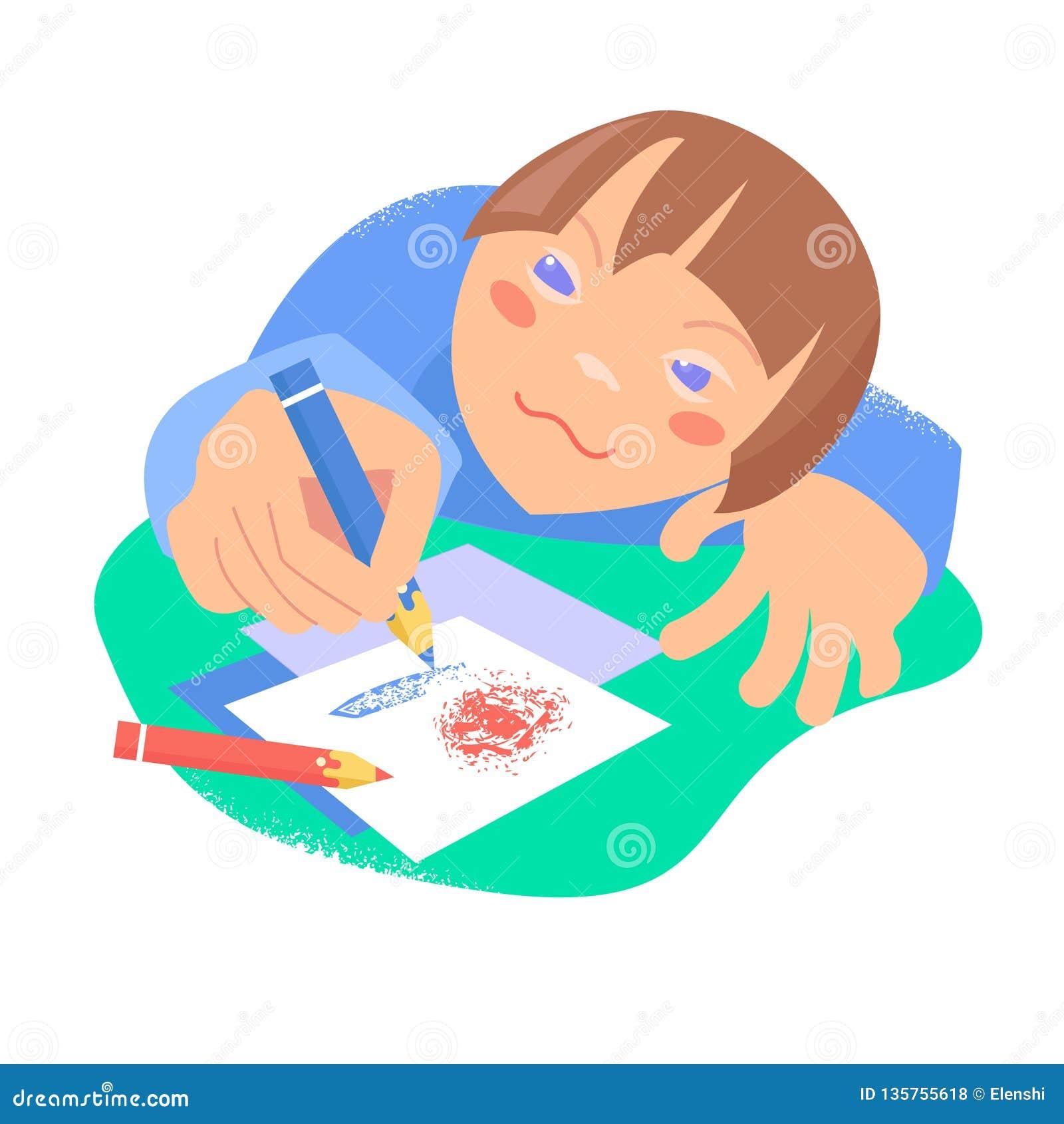 Красивая карта черноты эскиза дети рисуя гору дома вектор Концепция Синдрома Дауна