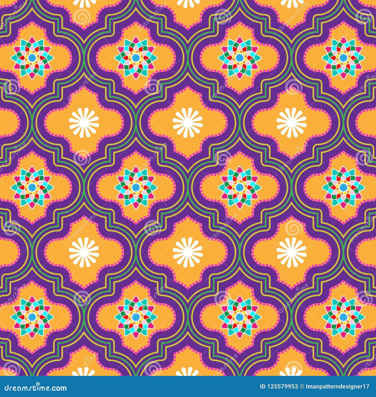 Красивая картина апельсина и фиолетовых украшенная морокканская безшовная с флористическими дизайнами
