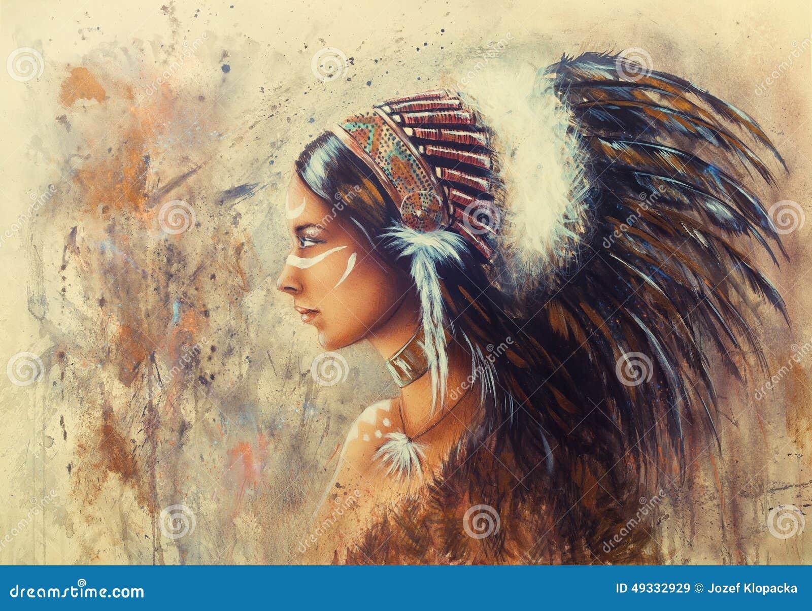 Красивая картина airbrush молодой индийской женщины нося bi