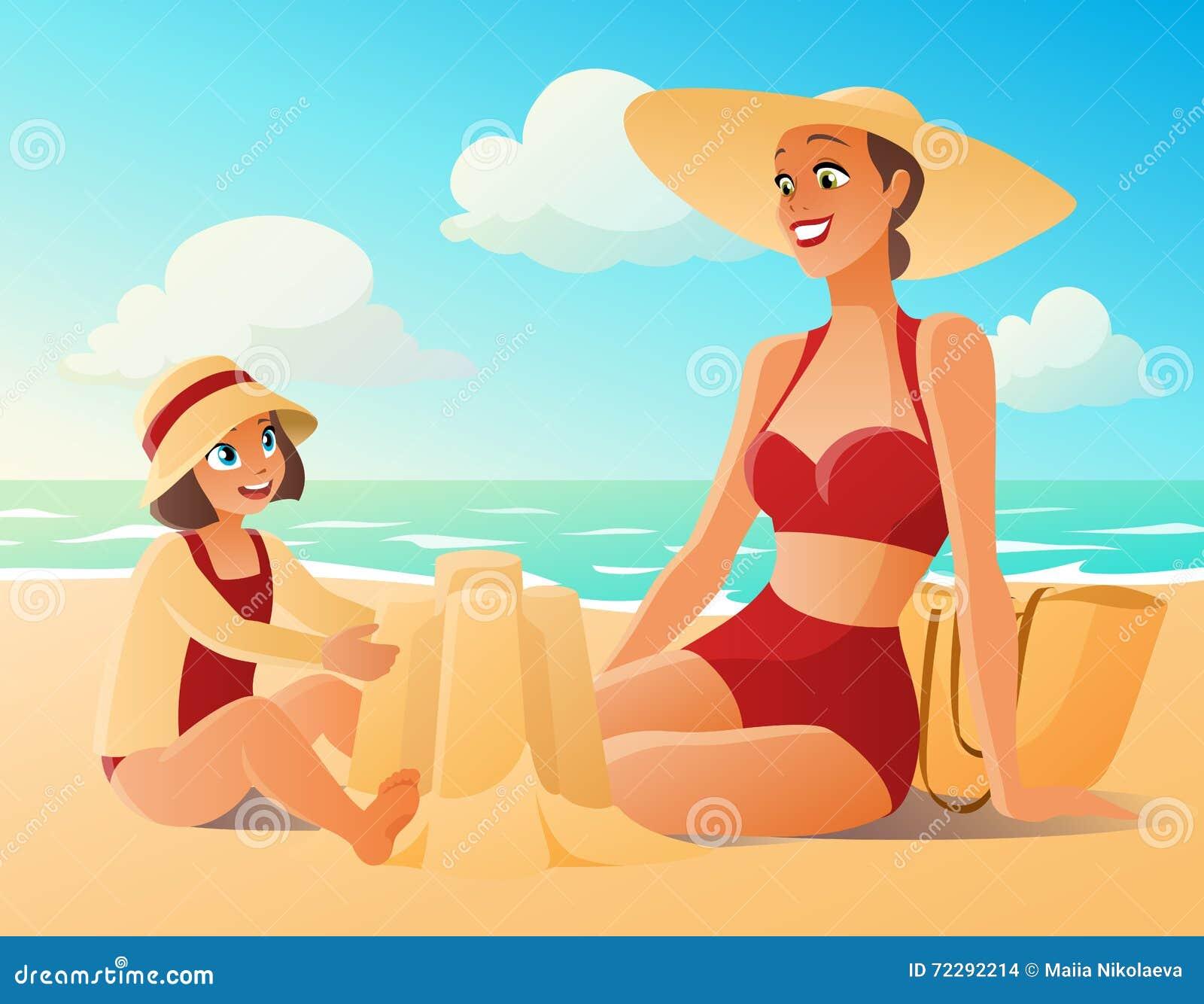 Download Красивая мать и милая молодая дочь на пляже Иллюстрация вектора - иллюстрации насчитывающей мама, мило: 72292214
