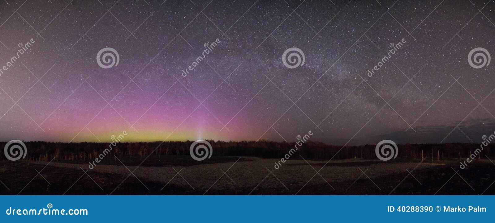Красивая панорама северного сияния