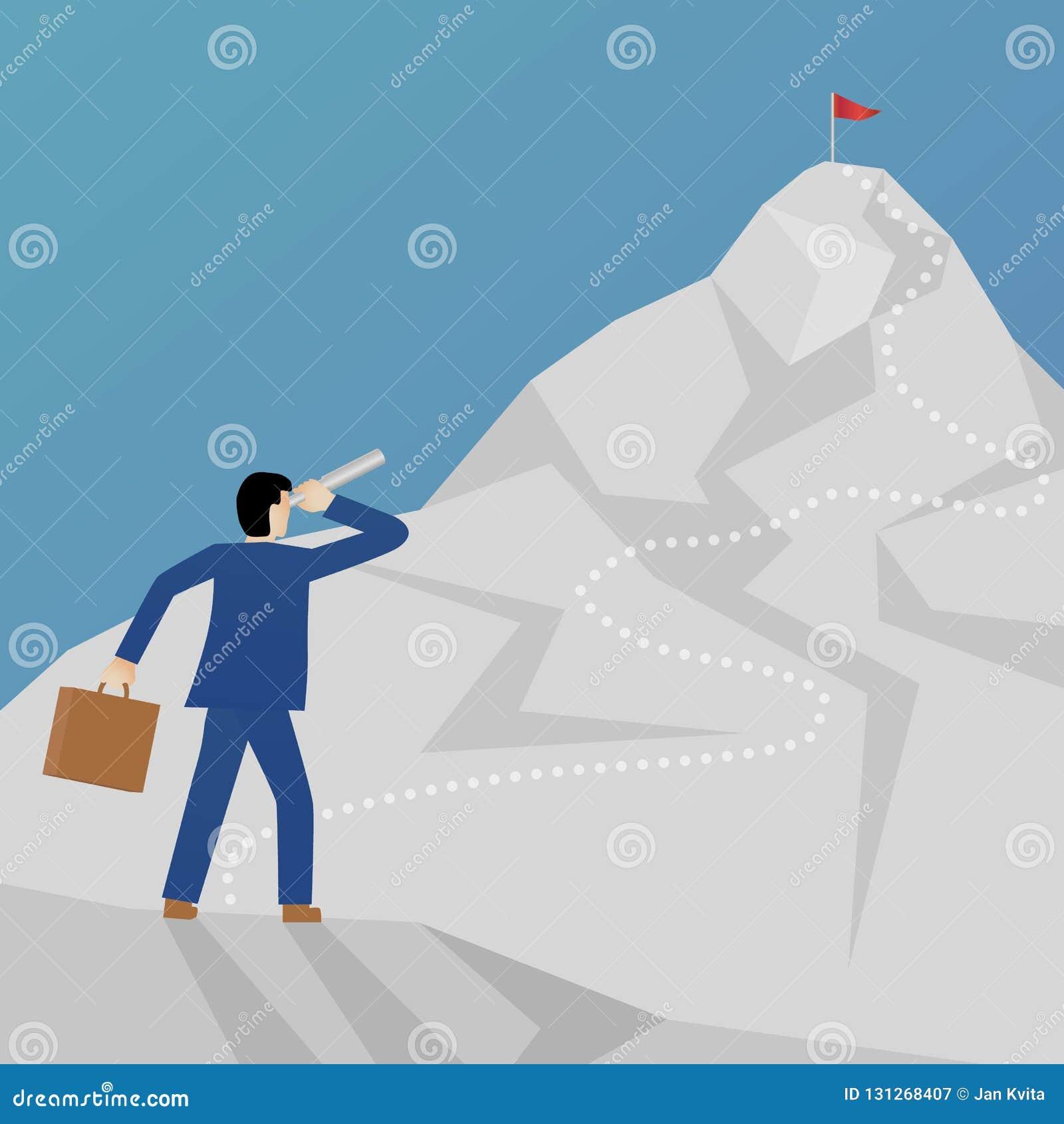 Красивая плоская метафора вектора дела дизайна бизнесмена взбираясь гора и смотря пик с бинокулярным