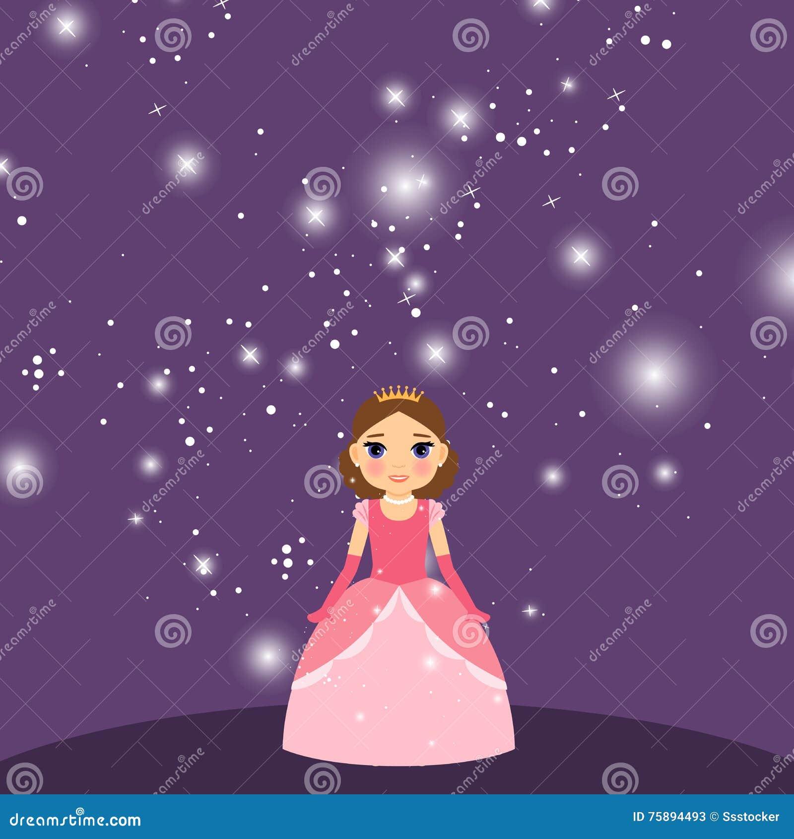Красивая принцесса шаржа на фиолетовой предпосылке