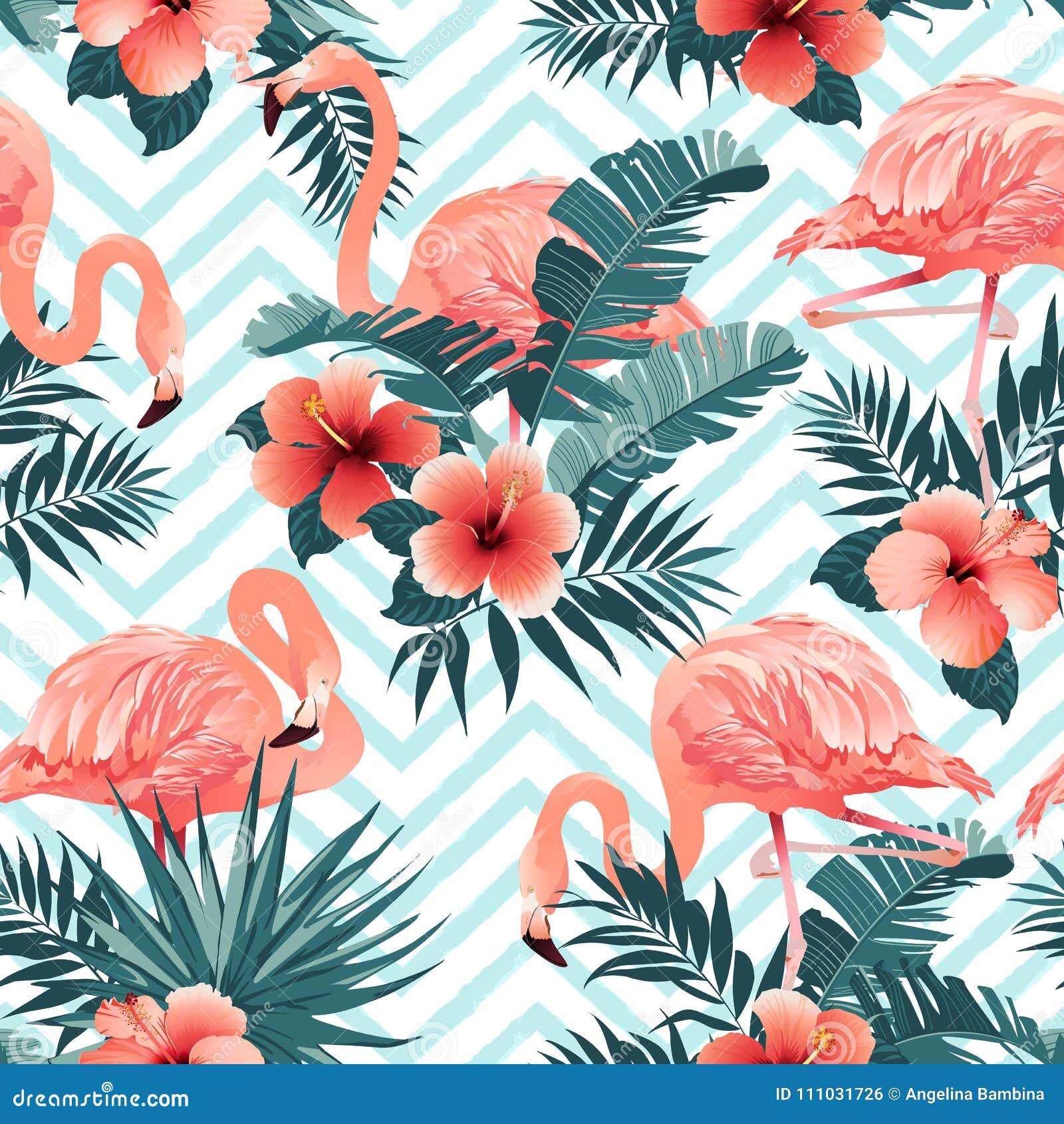 Красивая птица фламинго и тропическая предпосылка цветков вектор картины безшовный