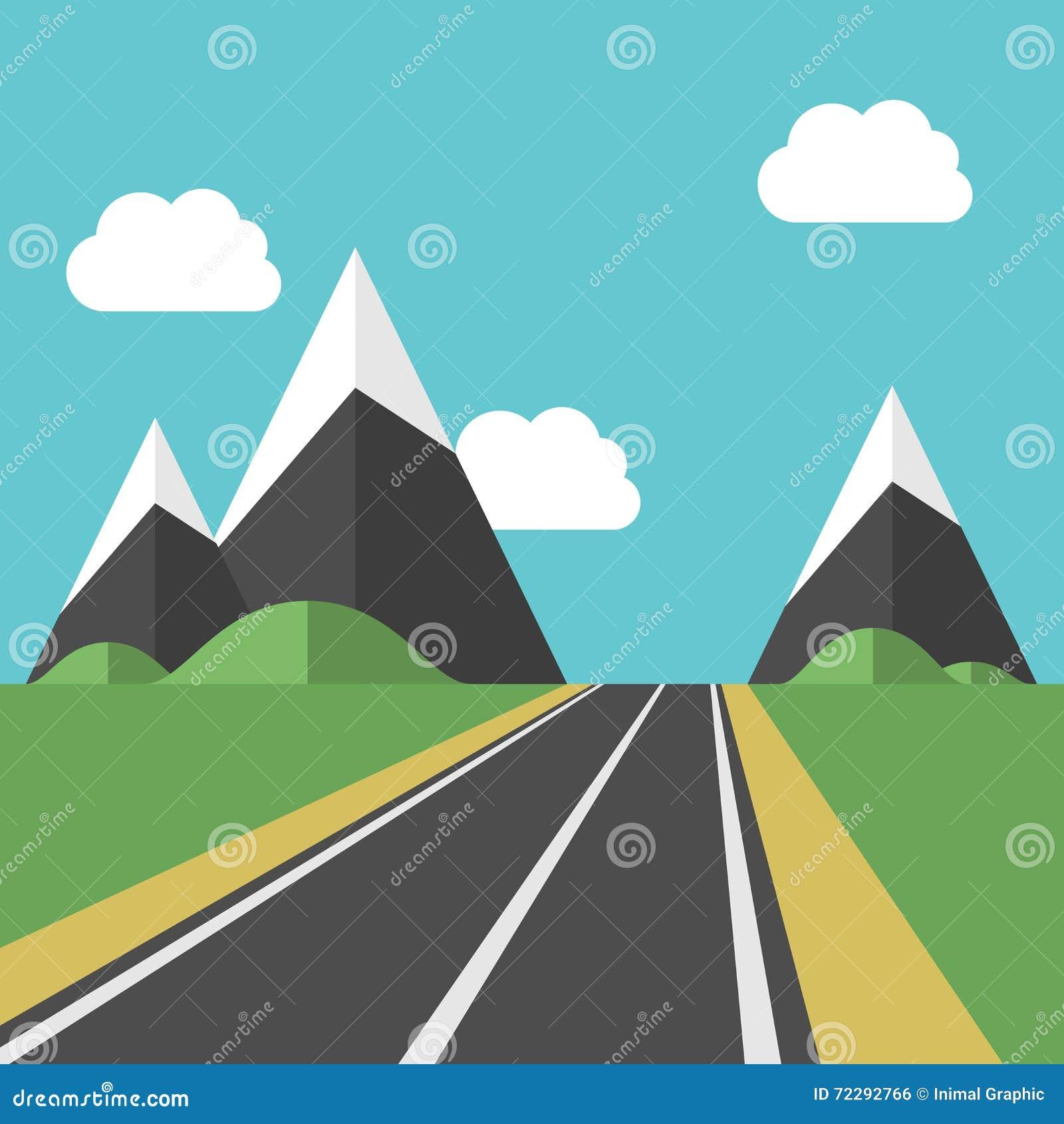 Download красивейшая дорога ландшафта Иллюстрация вектора - иллюстрации насчитывающей дистантно, concept: 72292766