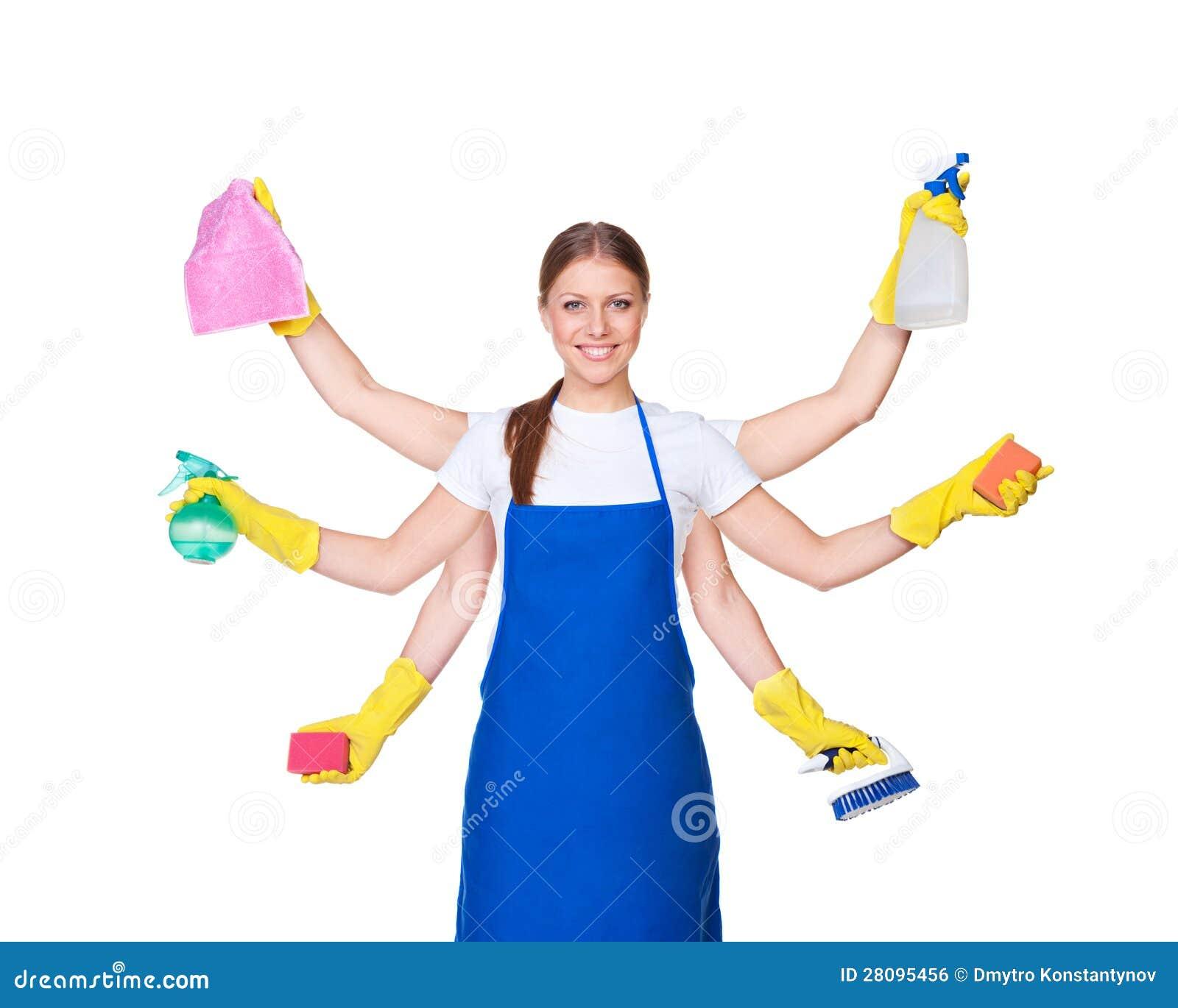 Красивейший Charwoman с 10 руками Стоковое Фото   изображение ...
