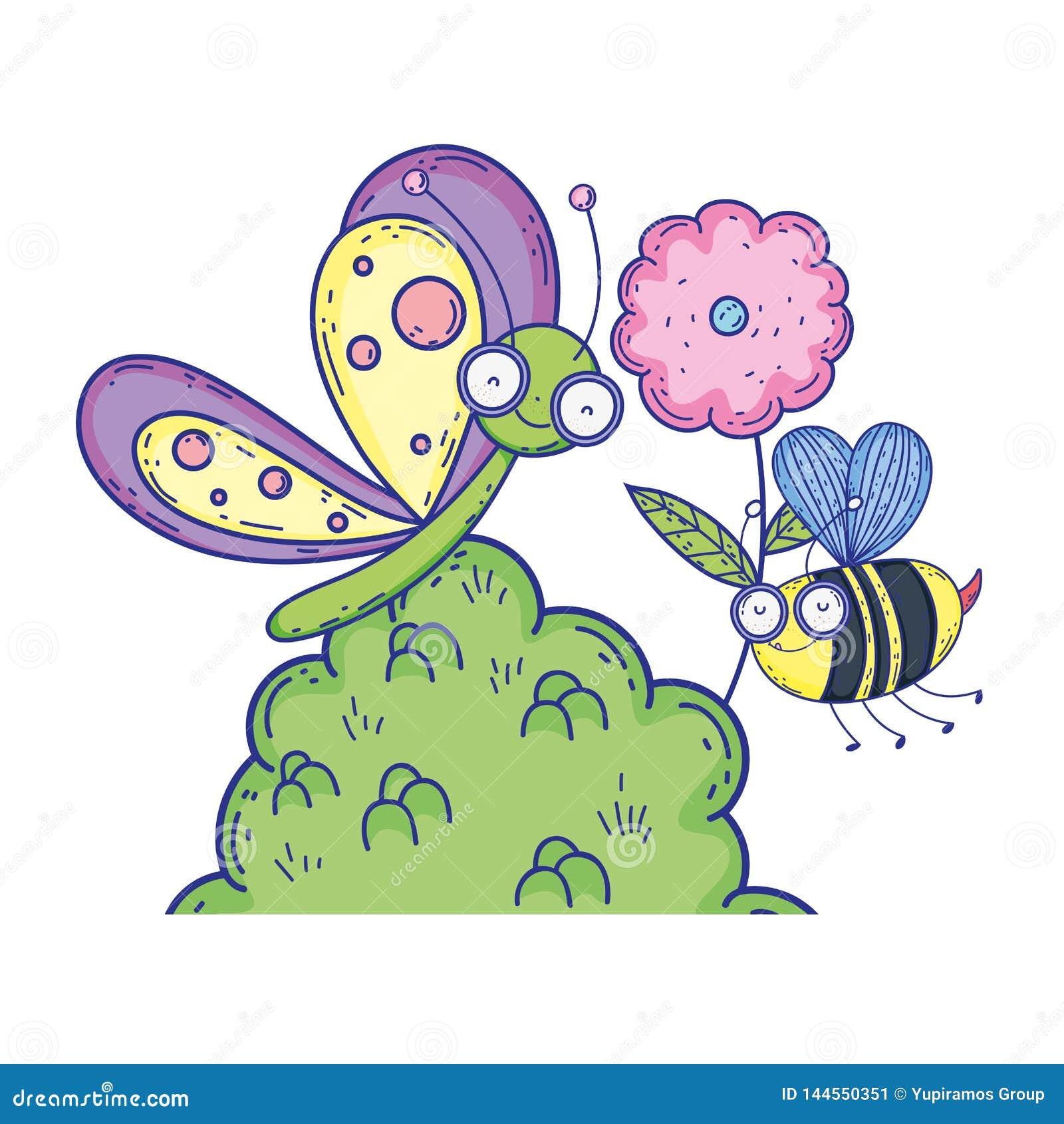 Красивое летание бабочки с кустом