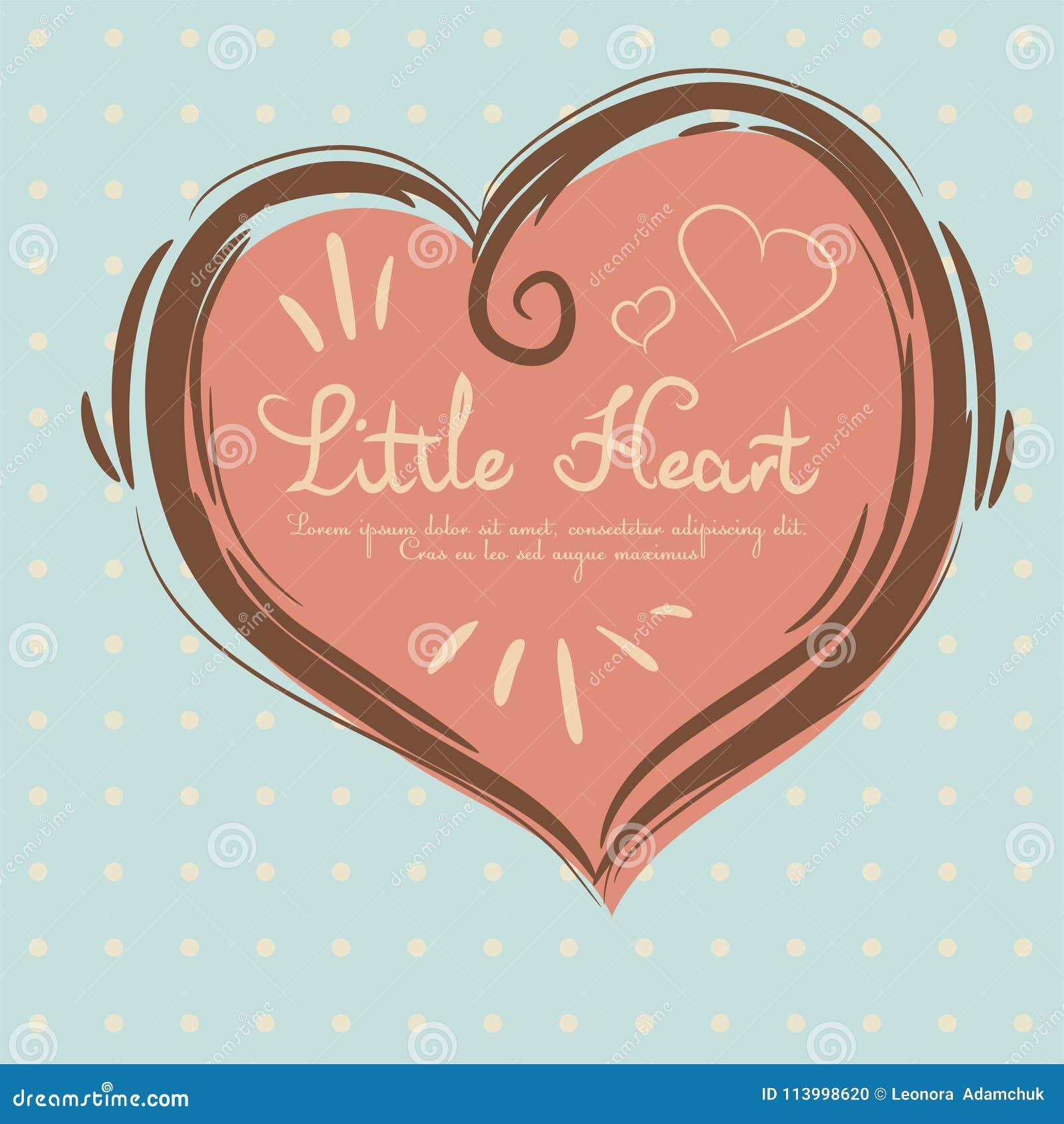 Красивое сердце нарисовано вручную в дне валентинки в пастельных цветах и месте для текста Карточка