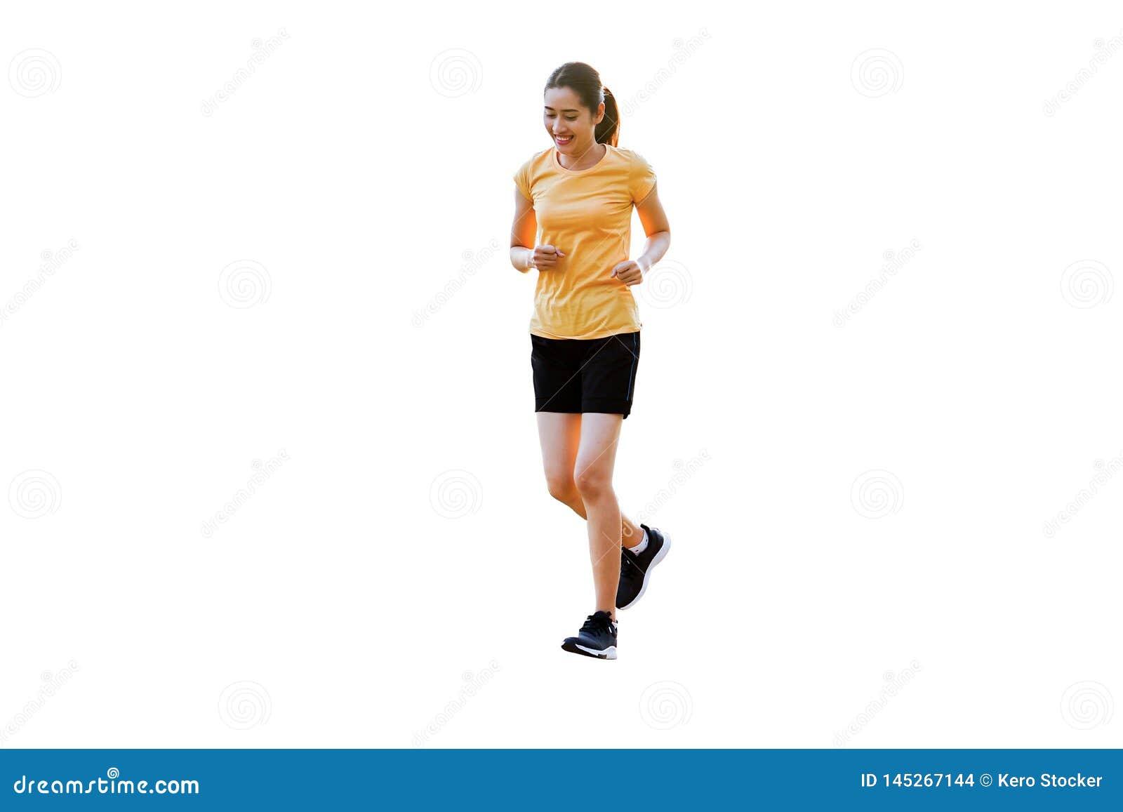 Красивые усмехаясь тайские женщины jogging, бег изолированные на предпос
