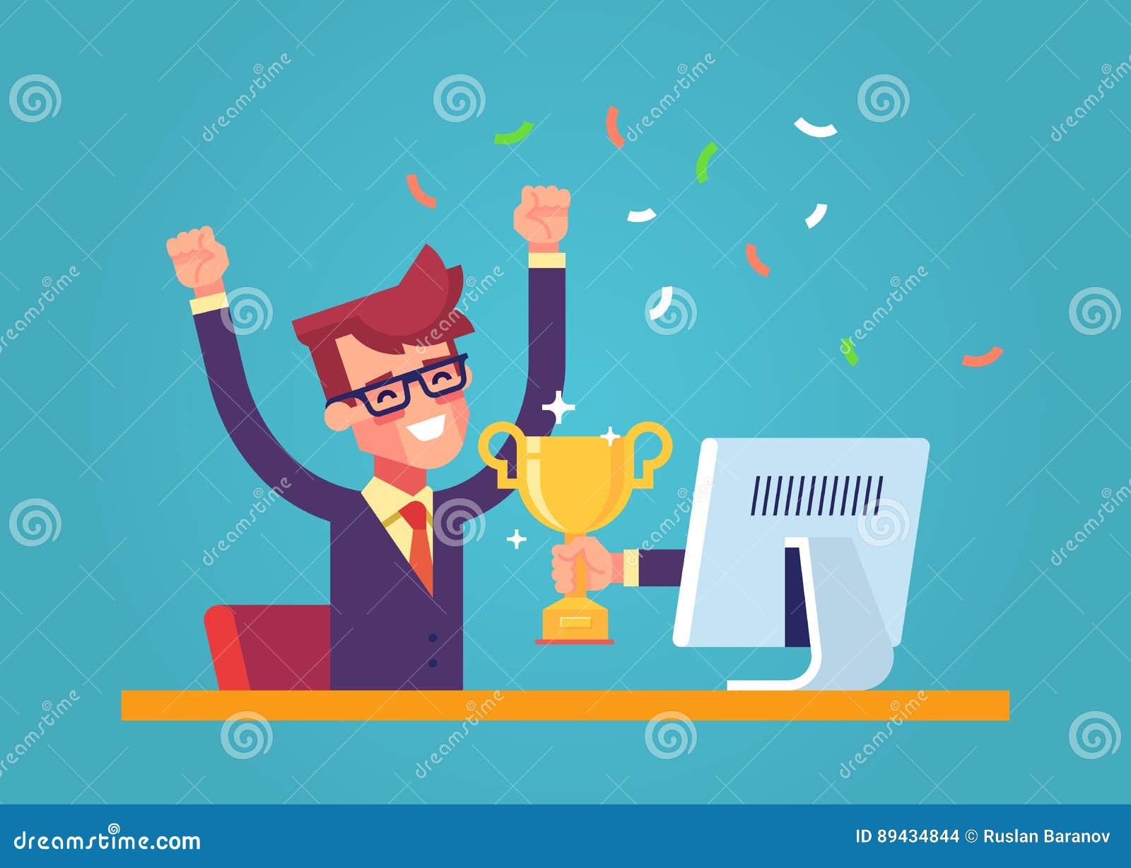 Красивый бизнесмен получил награду золота в онлайн состязании от монитора Современный мужской характер плоско