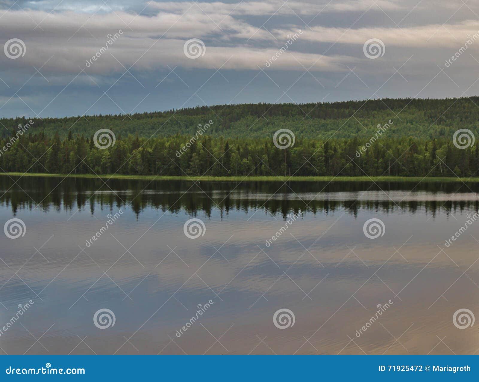 Красивый вечер лета в Norrbotten