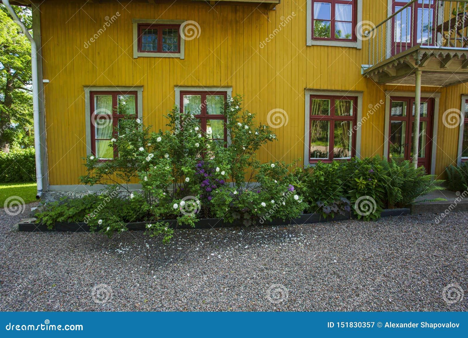 Красивый вид frontsize желтых деревянных цветков whith дома под окном Загородный стиль