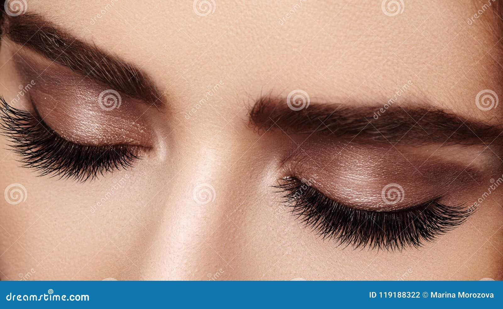 Красивый женский глаз с весьма длинными ресницами, черный состав вкладыша Совершенный состав, длинные плетки Глаза моды крупного