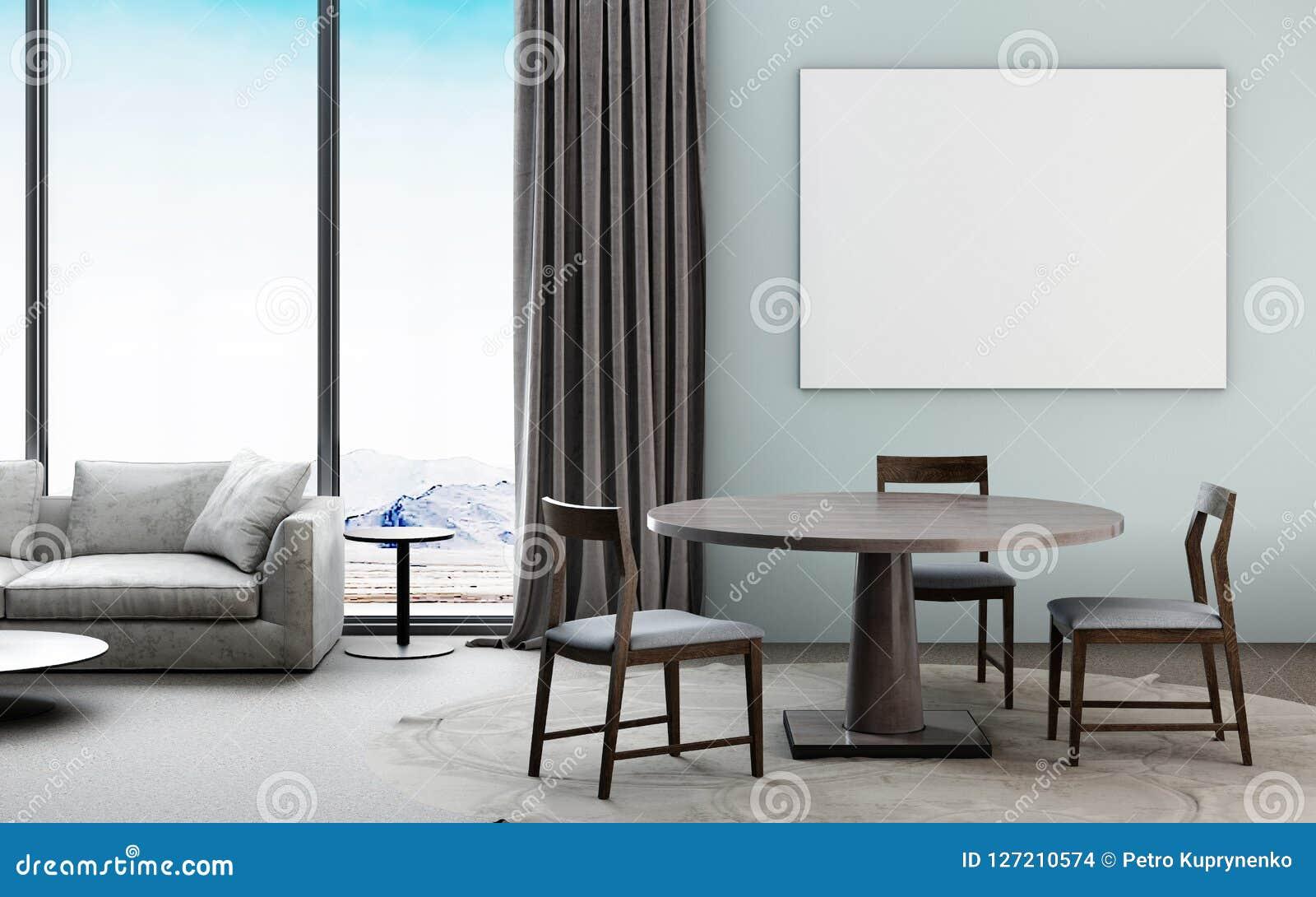 Красивый интерьер живущей комнаты с плакатом модель-макета incontemporary