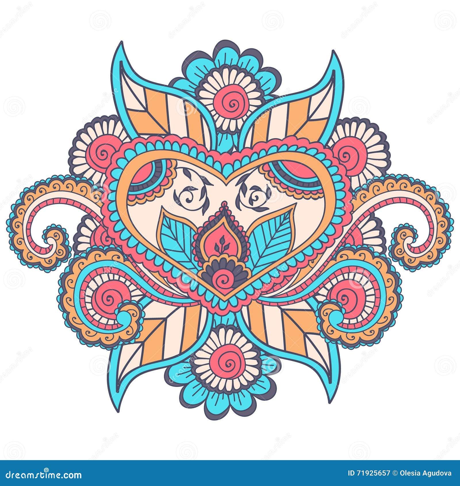 Красивый индийский флористический орнамент можно использовать как поздравительная открытка