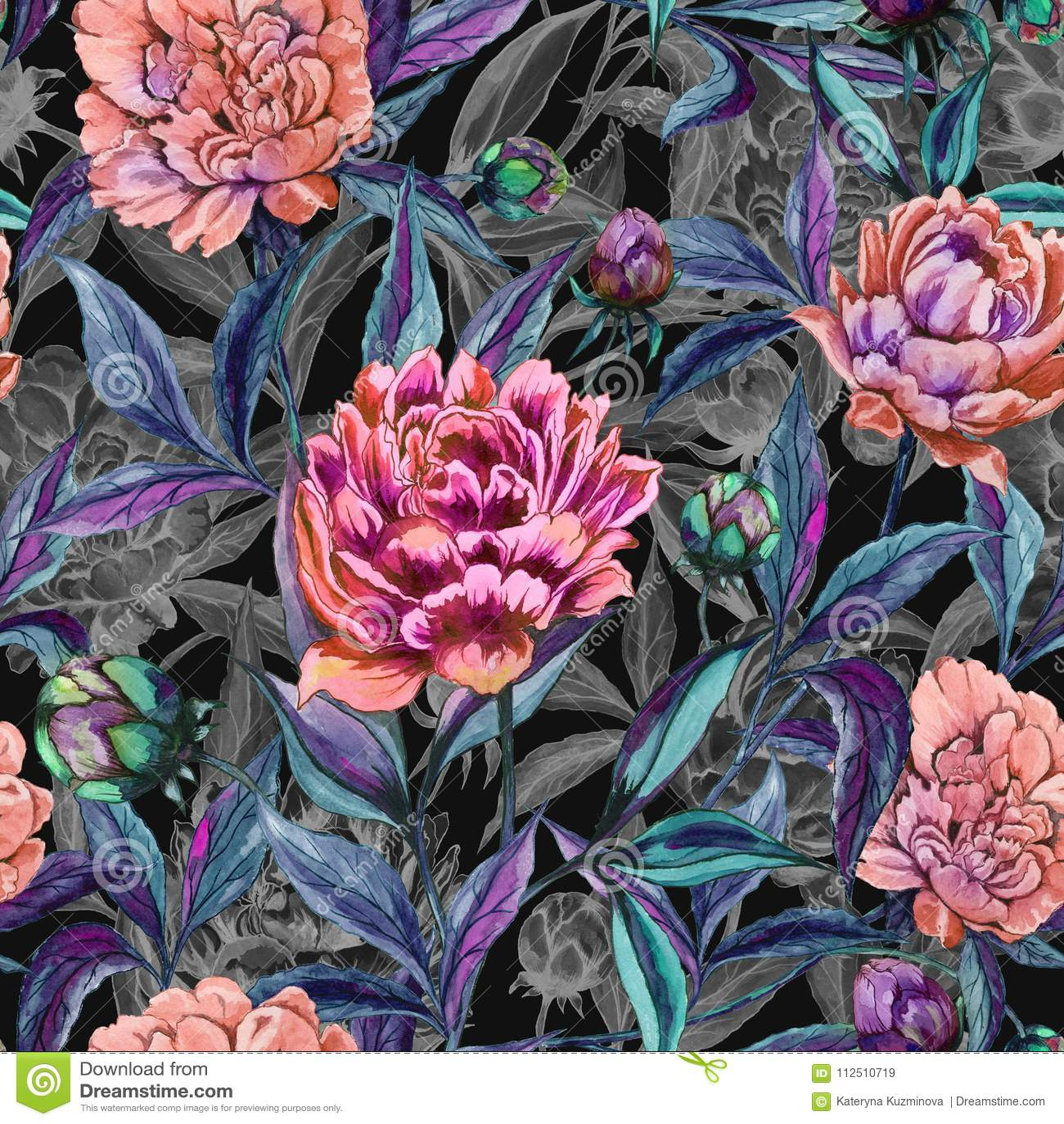 Красивый красочный пион цветет с листьями, бутонами и серыми планами на черной предпосылке флористическая картина безшовная