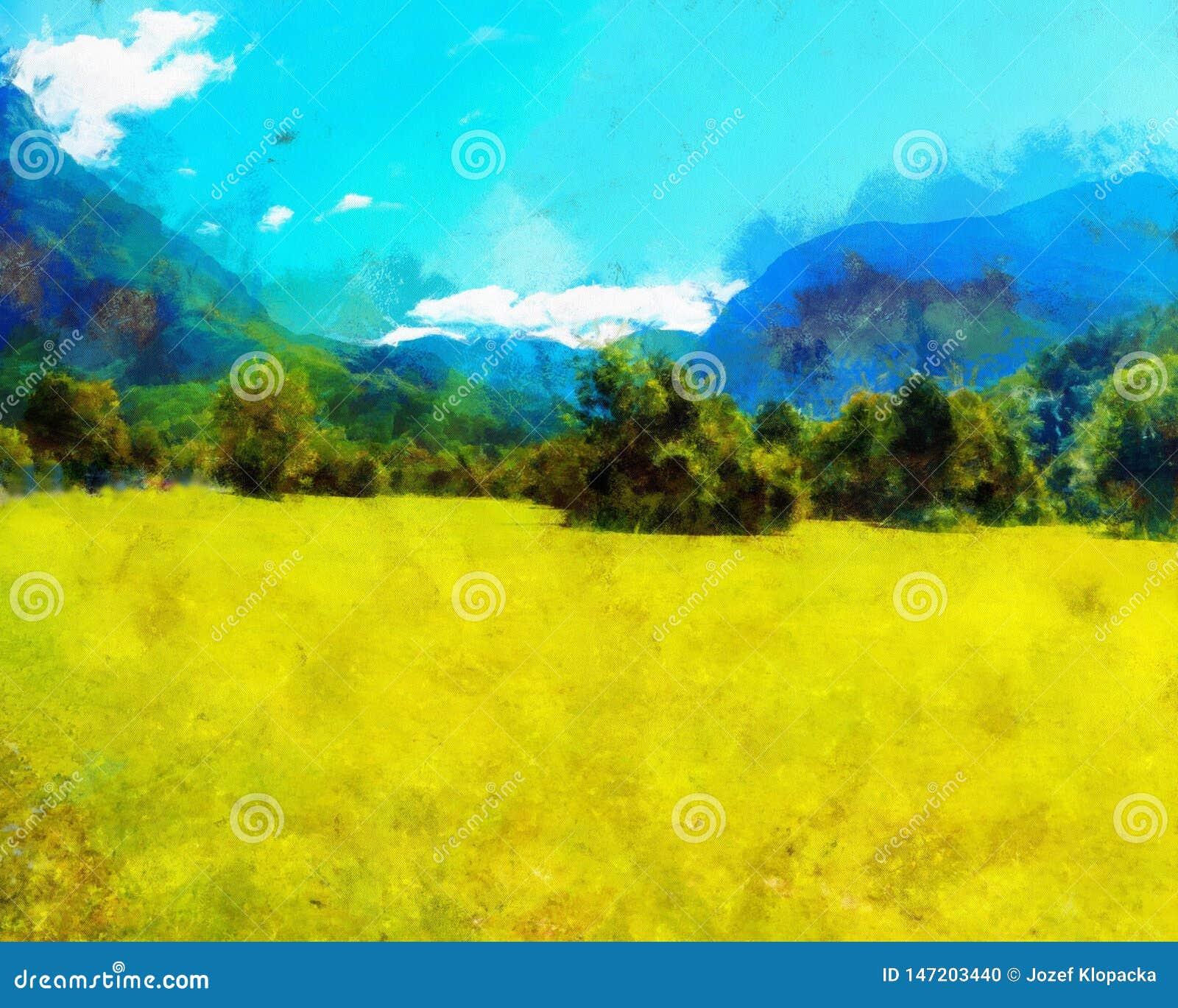 Красивый ландшафт, желтый луг и влияние компьютера крася