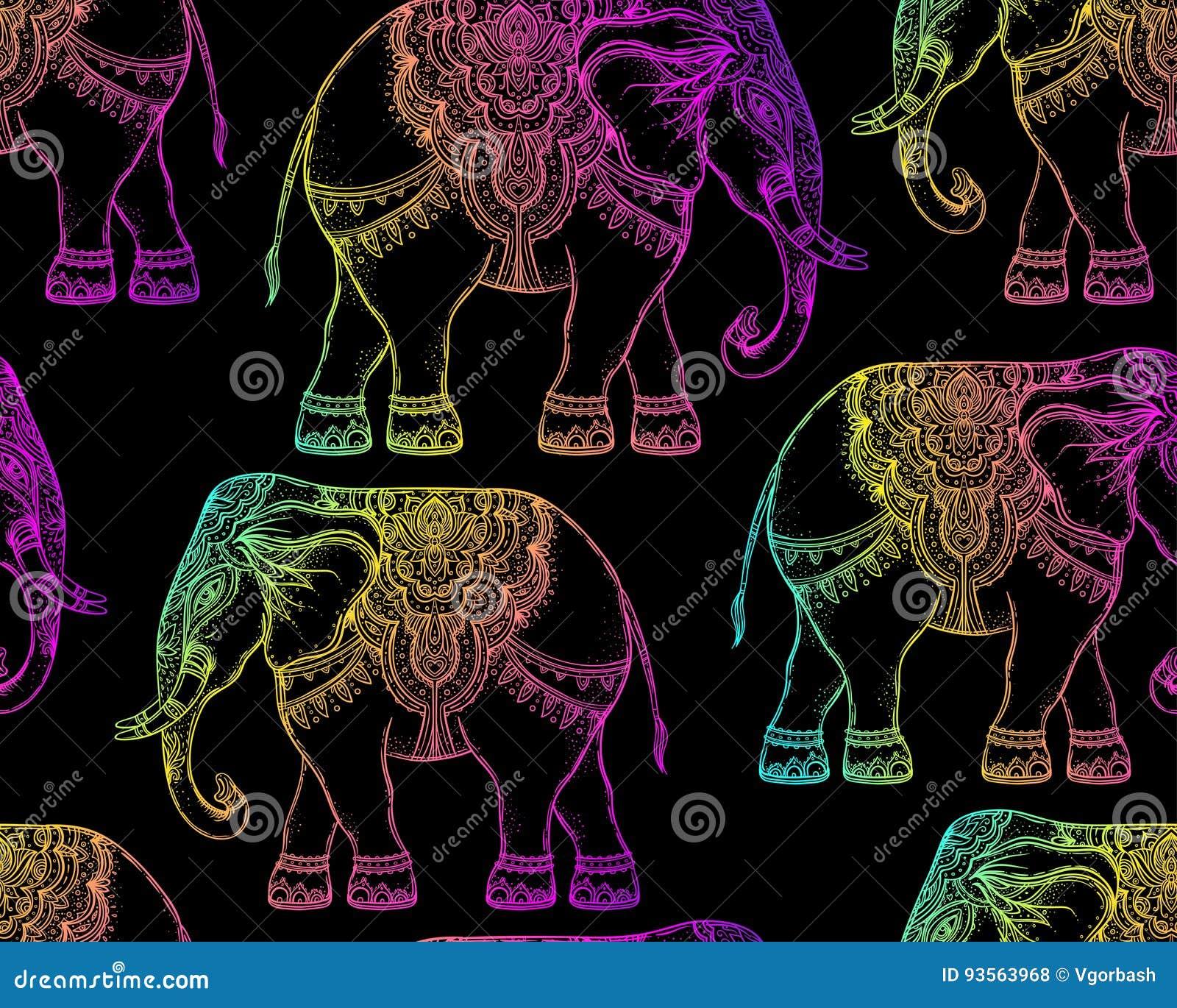 Красивый нарисованный вручную племенной слон стиля Безшовный des картины