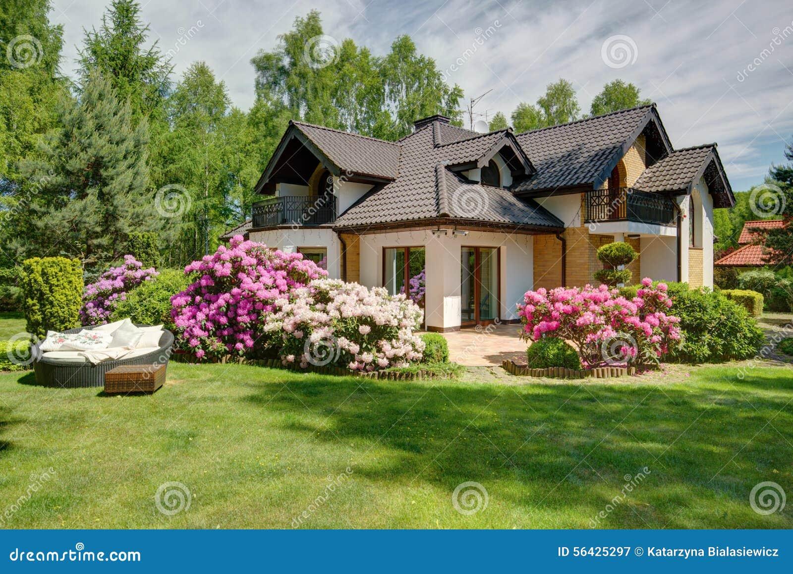 Красивый загородный дом с садом фото