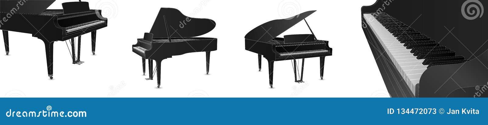 Красивый реалистический детальный вектор рояля установил в черный цвет с белыми планами