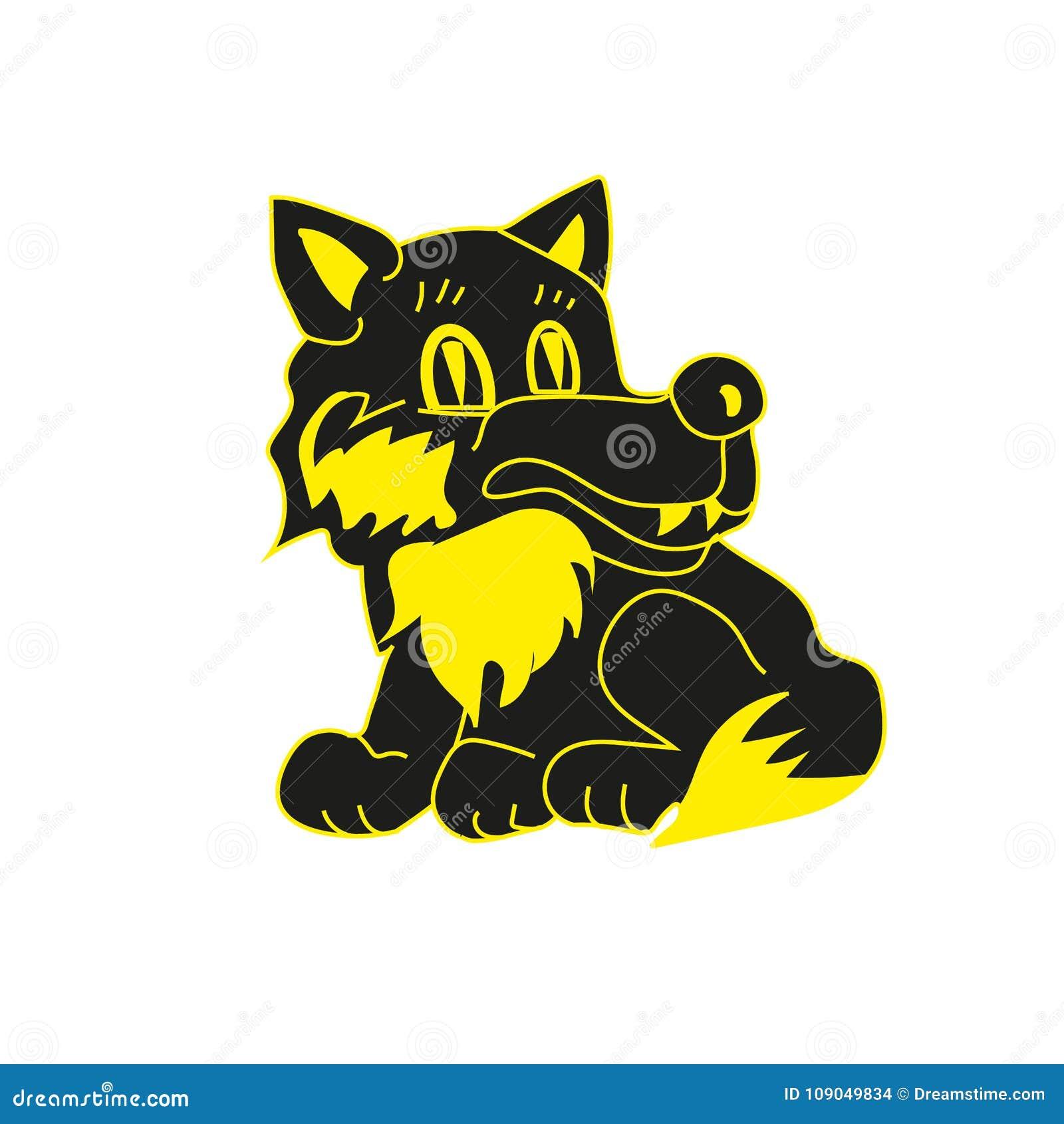 Красивый черный волк сидит и усмехается