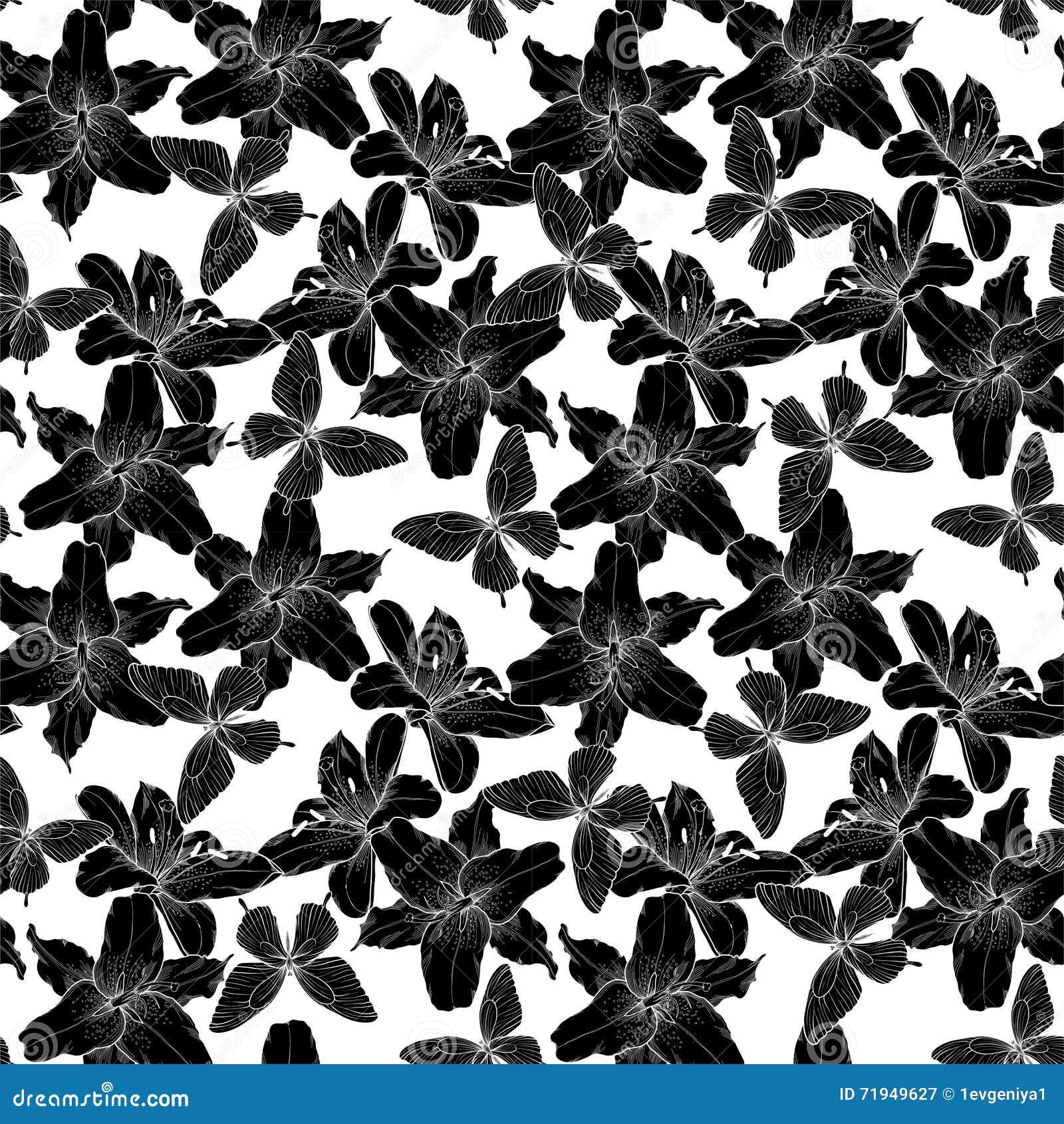 Красивый monochrome, черно-белая безшовная предпосылка с лилиями и бабочки Нарисованные вручную линии контура