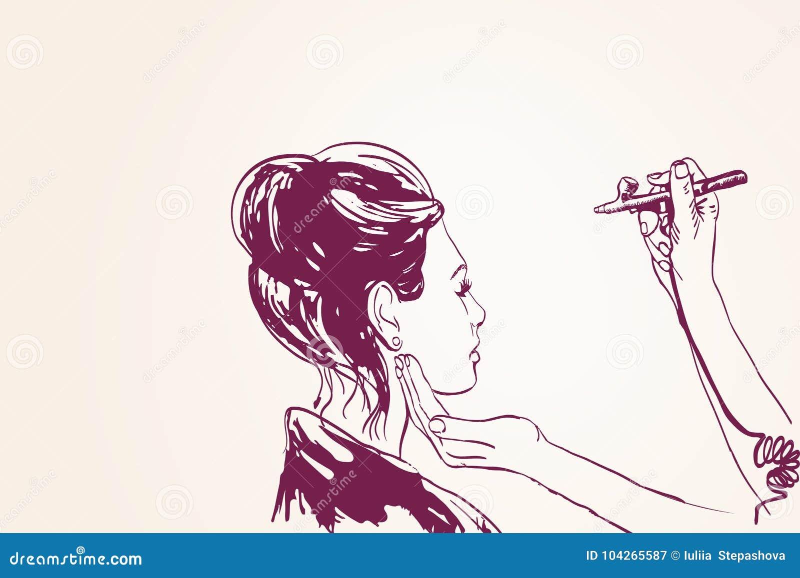 Краски визажиста visagist женщины на стороне его клиента с airbrush