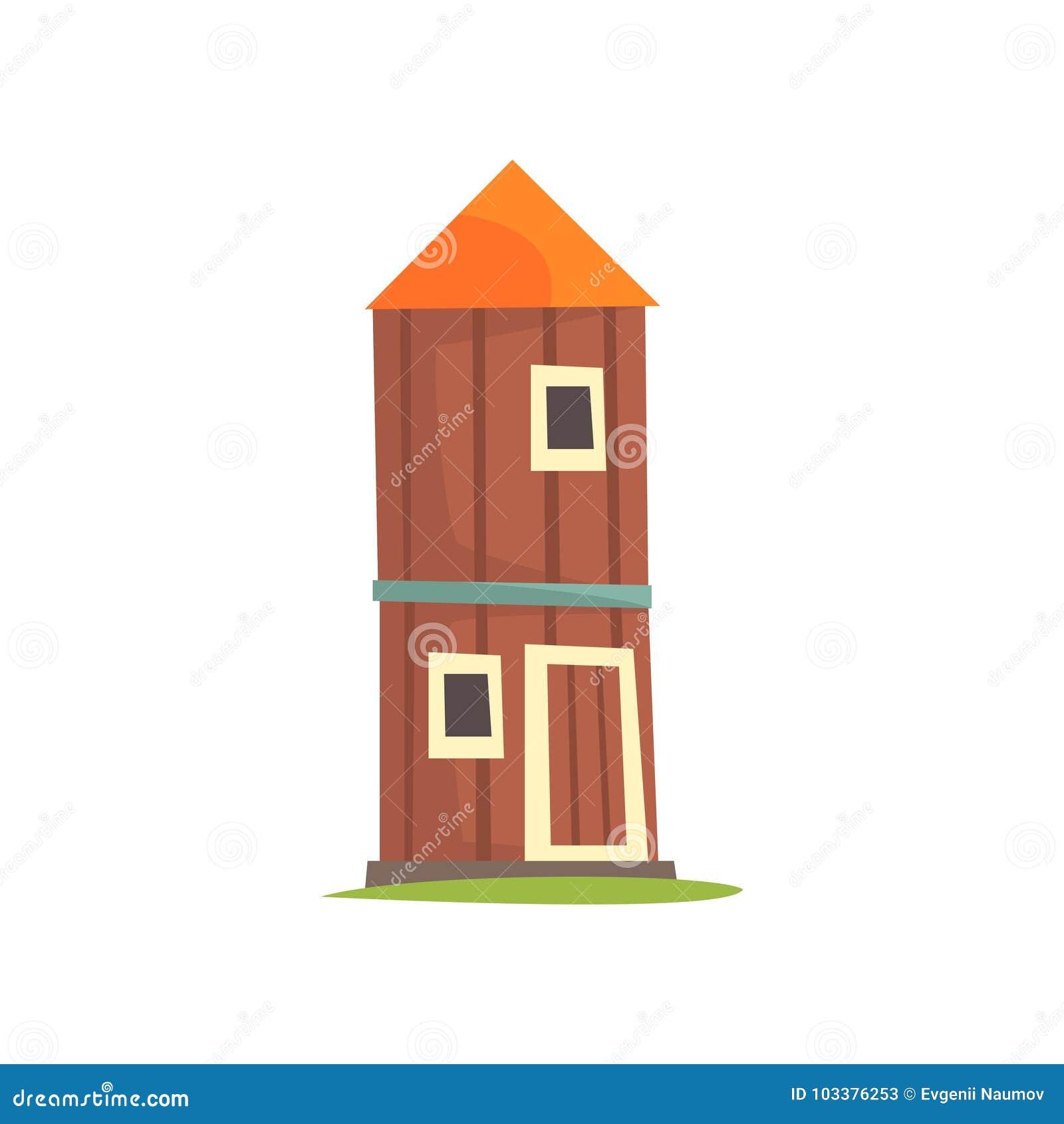 Красная аграрная башня, силосохранилище, деревянная иллюстрация вектора шаржа сельскохозяйственного строительства
