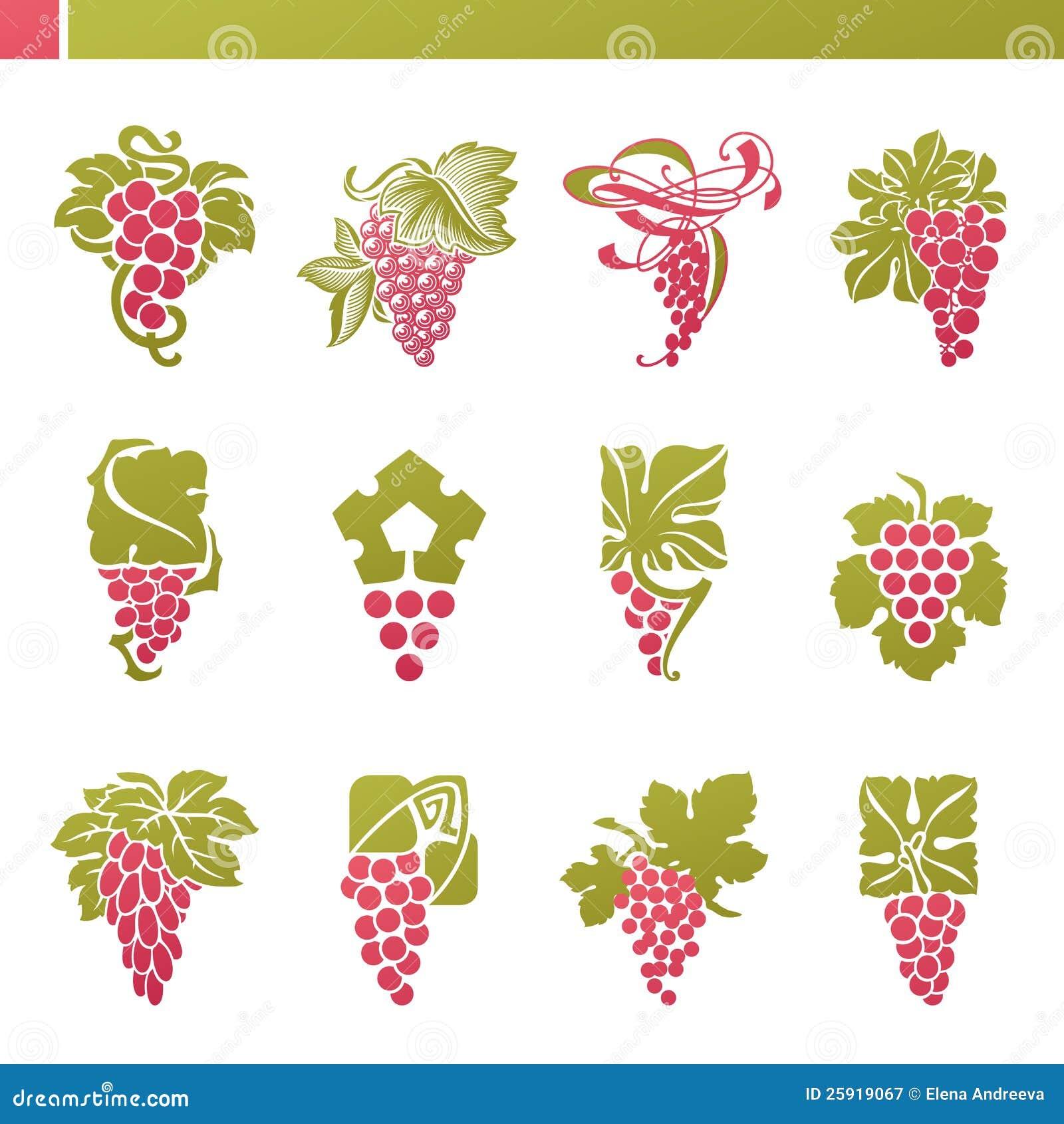 Красная виноградина с листьями. Комплект шаблона логоса вектора.
