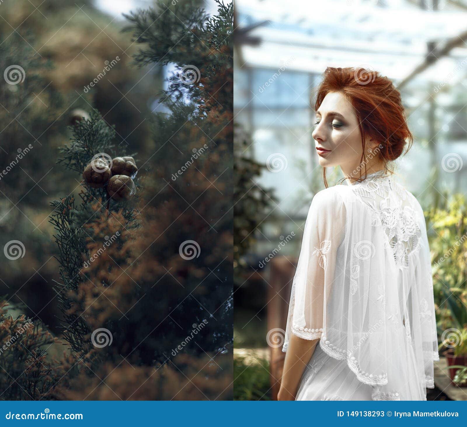Красная девушка волос в коллаже парника