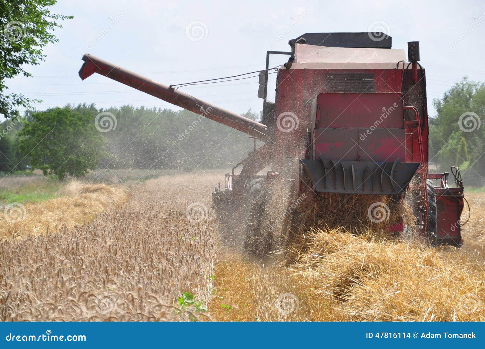 Красная зернокомбайн-жатка