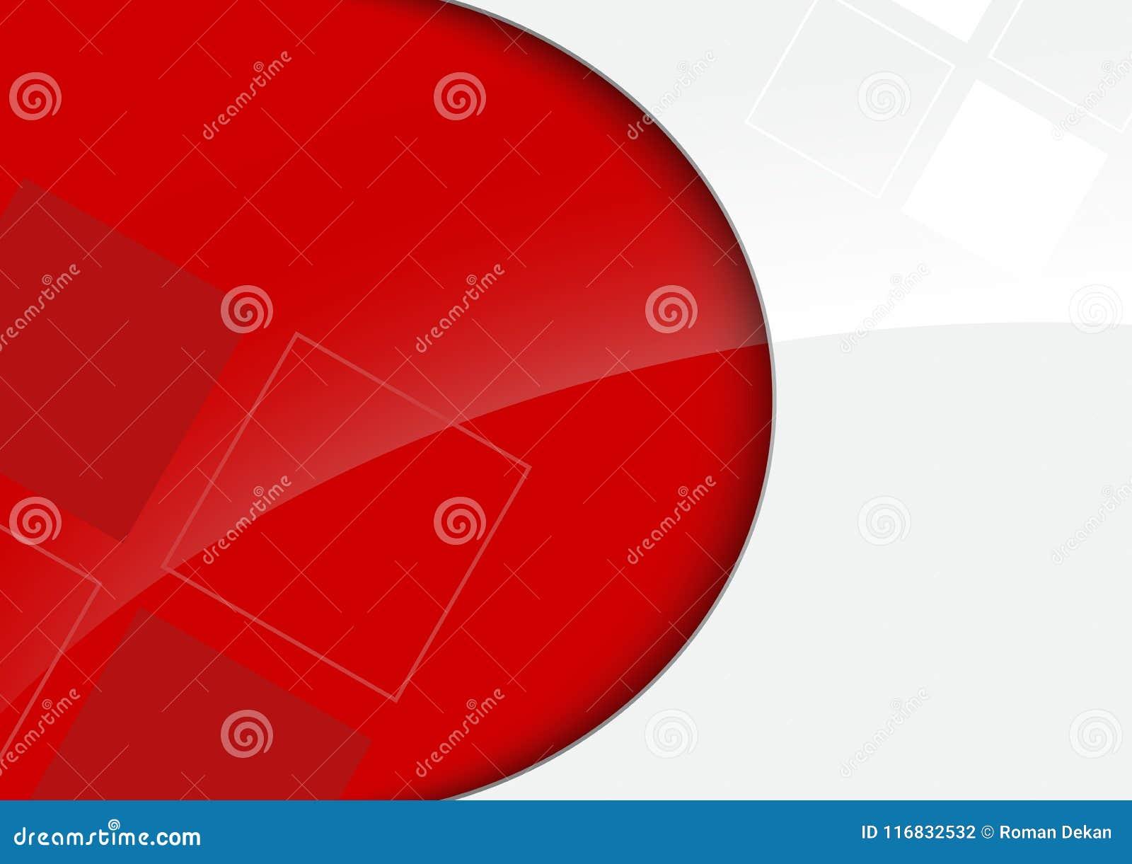 Красная и белая лоснистая предпосылка с декоративными квадратами