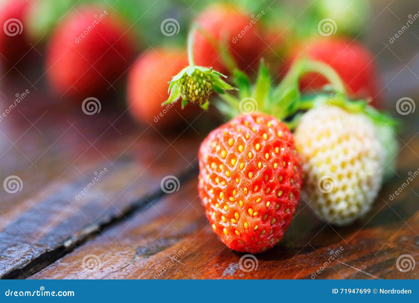 Красная и белая клубника на деревянном столе