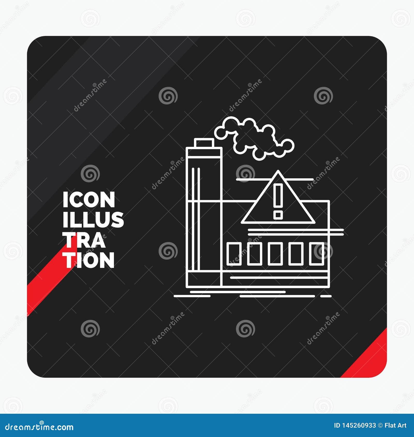 Красная и черная творческая предпосылка для загрязнения, фабрика представления, воздух, сигнал тревоги, линия значок индустрии