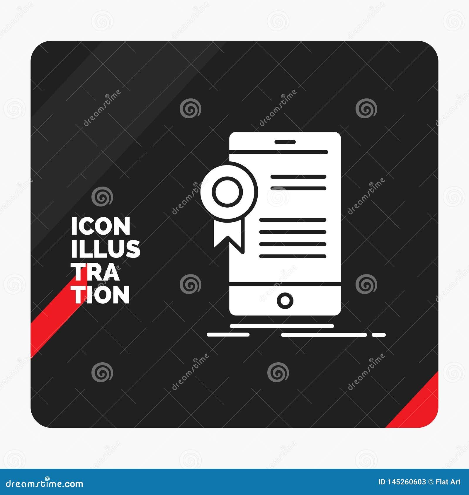 Красная и черная творческая предпосылка для сертификата, аттестация представления, приложение, применение, значок глифа утвержден