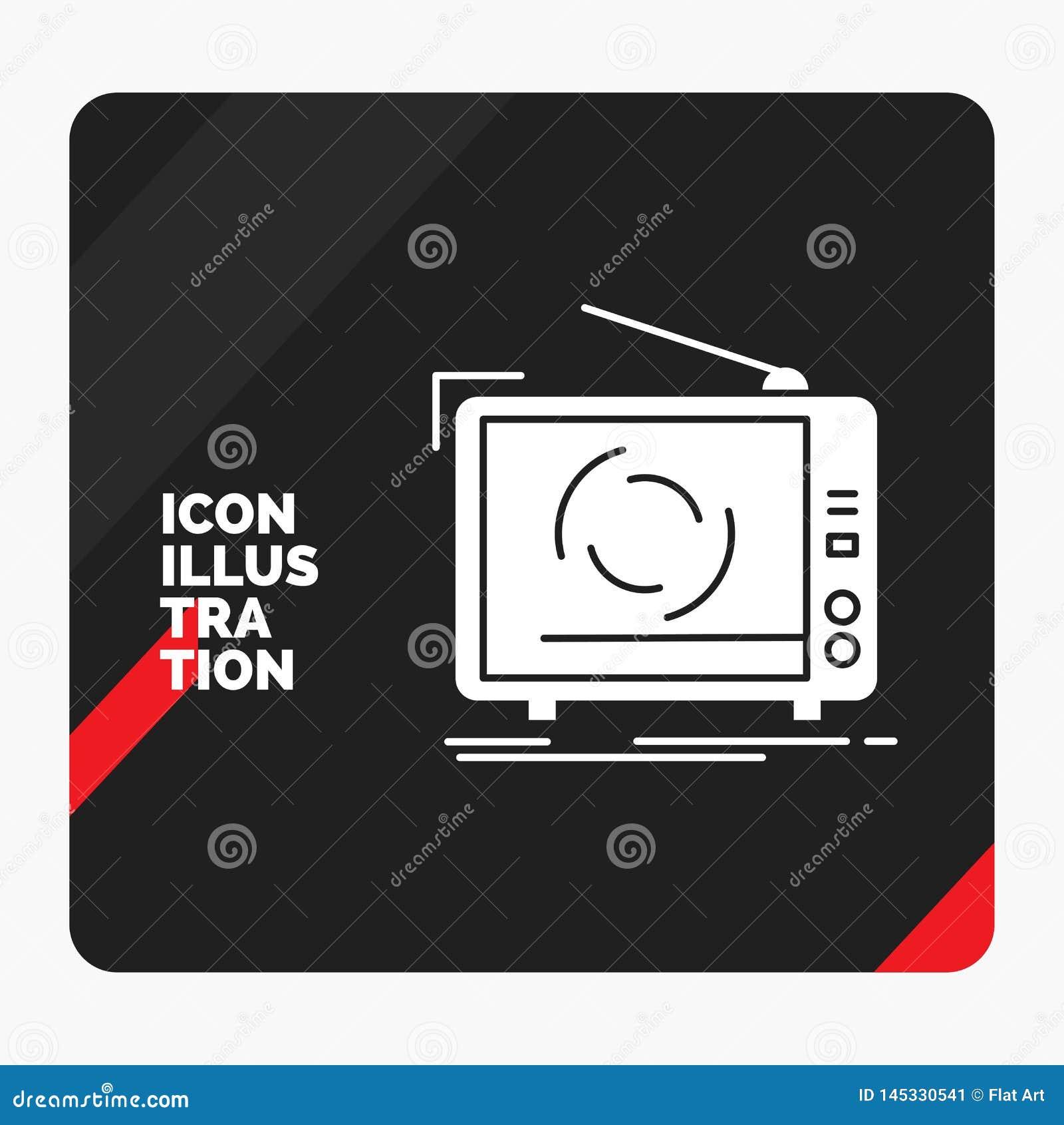 Красная и черная творческая предпосылка представления для ТВ, объявления, рекламы, телевидения, установленного значка глифа