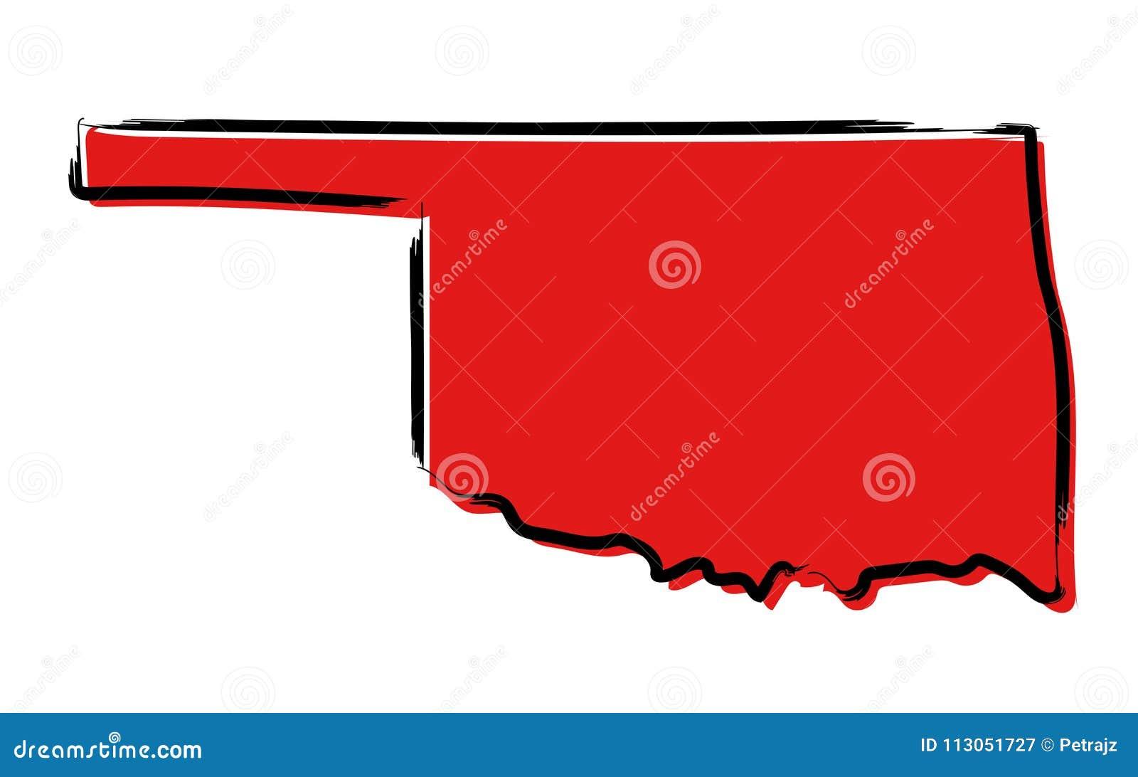 Красная карта эскиза Оклахомы