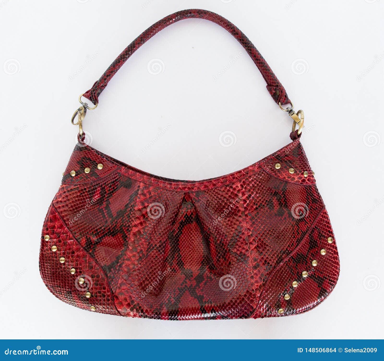 Красная кожаная сумка сделанная кожи питона на белой предпосылке Аксессуары женщин моды r Кожа питона