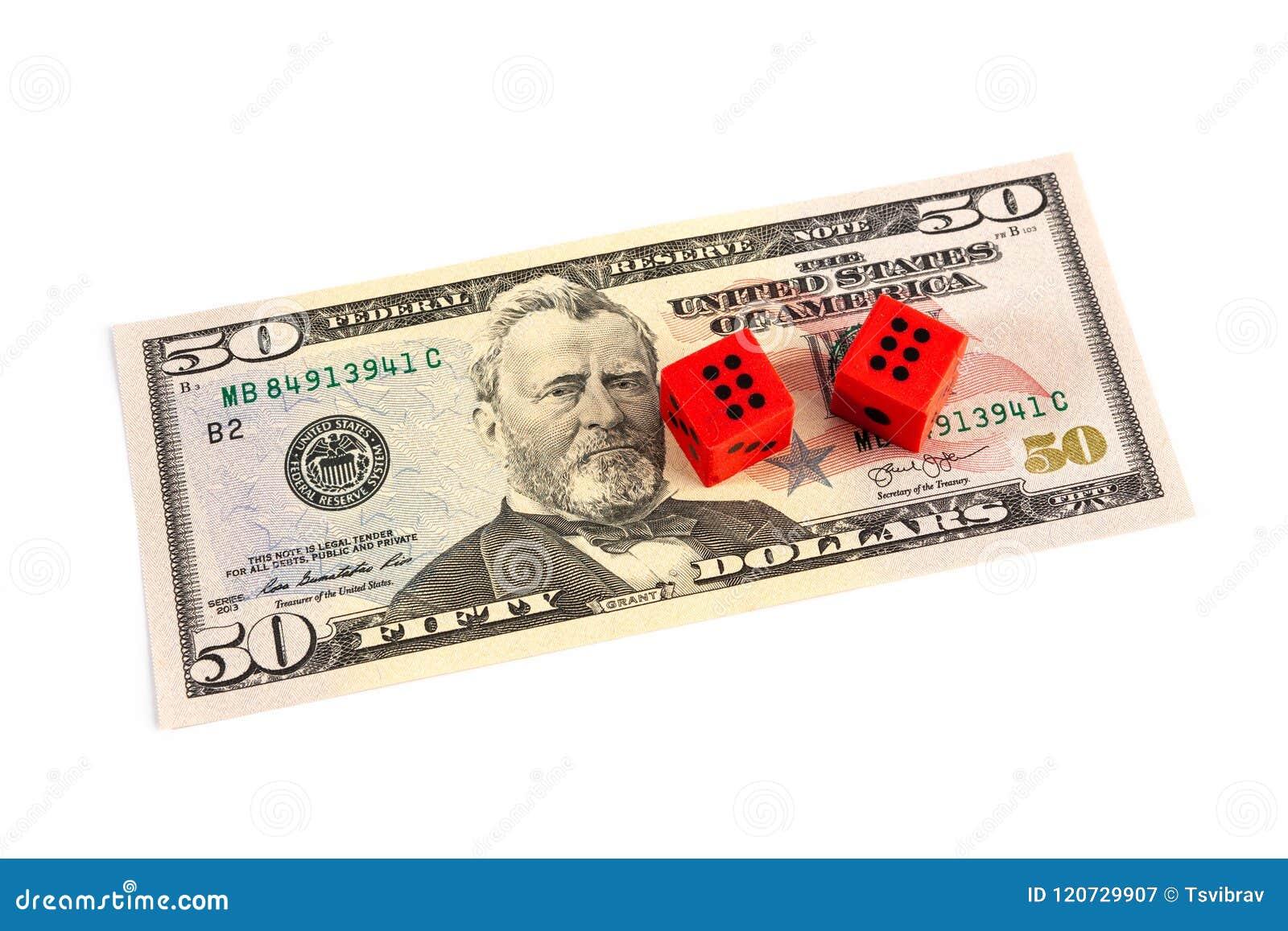 Красная кость на счете доллара США 50